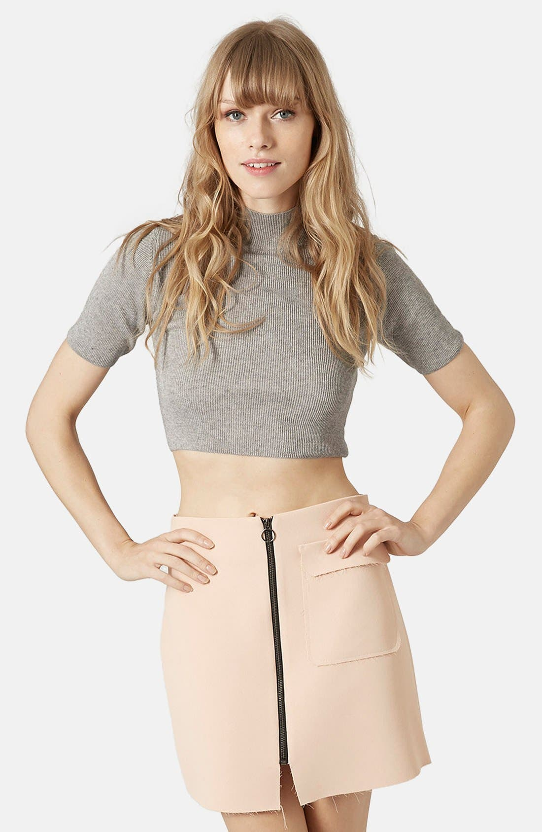 Alternate Image 1 Selected - Topshop Funnel Neck Crop Tee