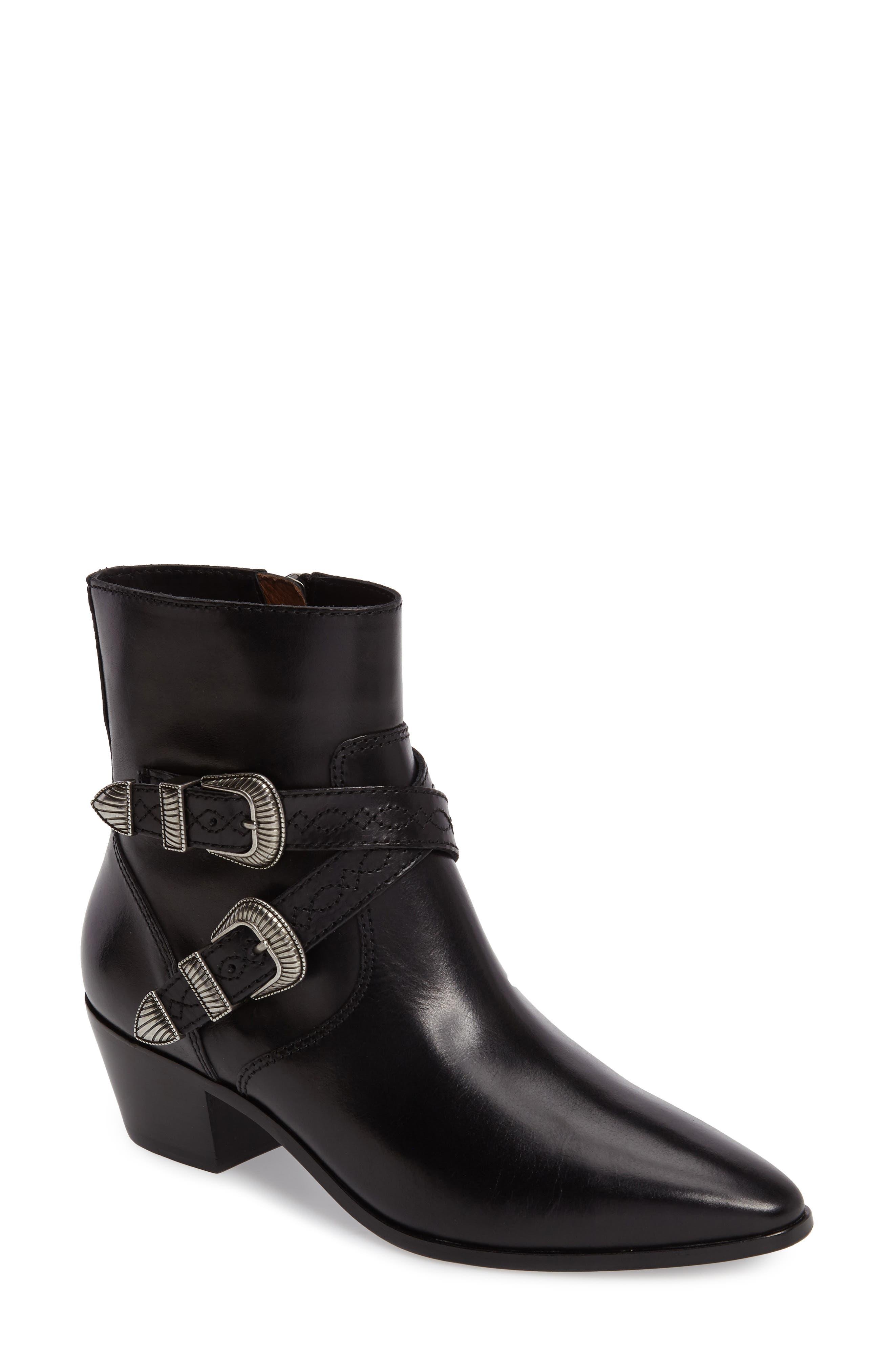 Ellen Buckle Strap Bootie,                         Main,                         color, Black