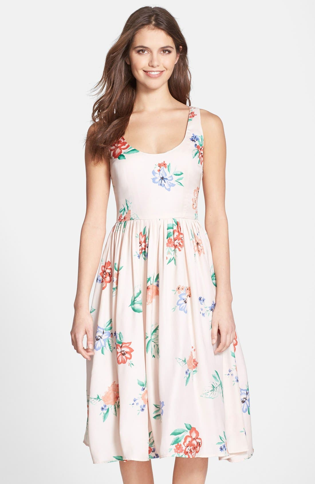 Alternate Image 1 Selected - BB Dakota 'Heleen' Floral Print Fit & Flare Midi Dress