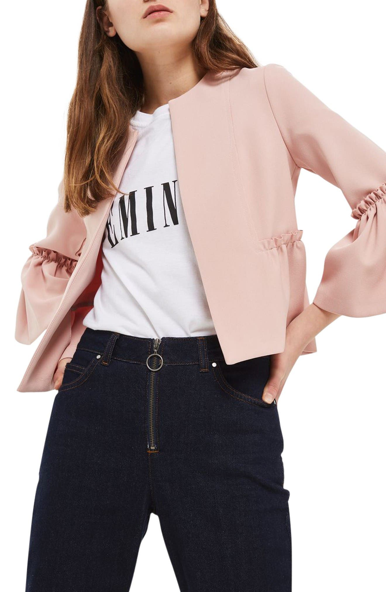 Ruffle Crop Jacket,                             Main thumbnail 1, color,                             Blush