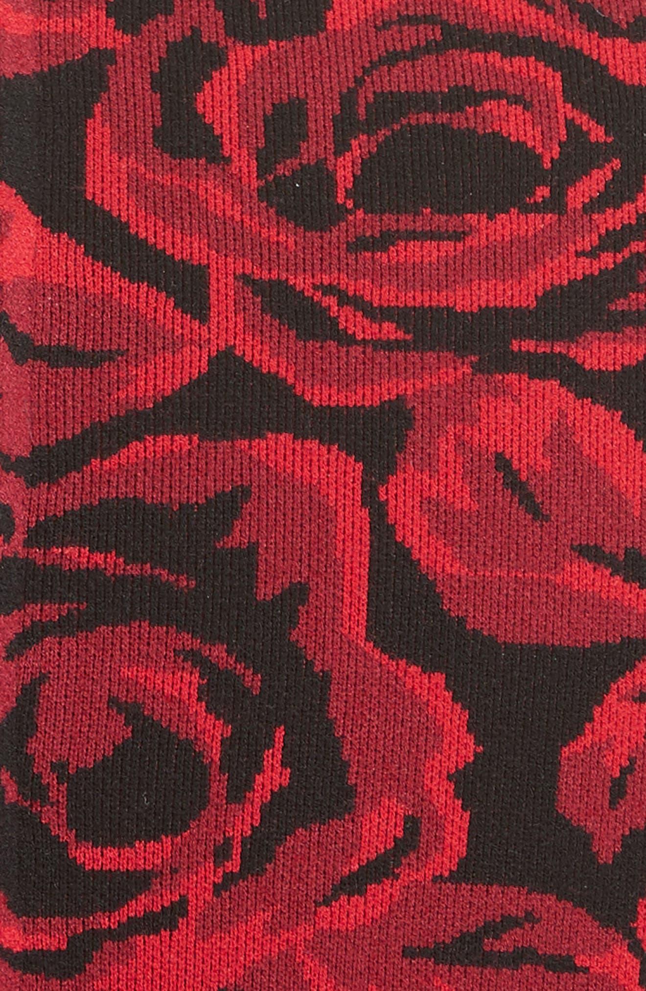 Rose Stretch Jacquard Shrug,                             Alternate thumbnail 3, color,                             Crimson/ Black