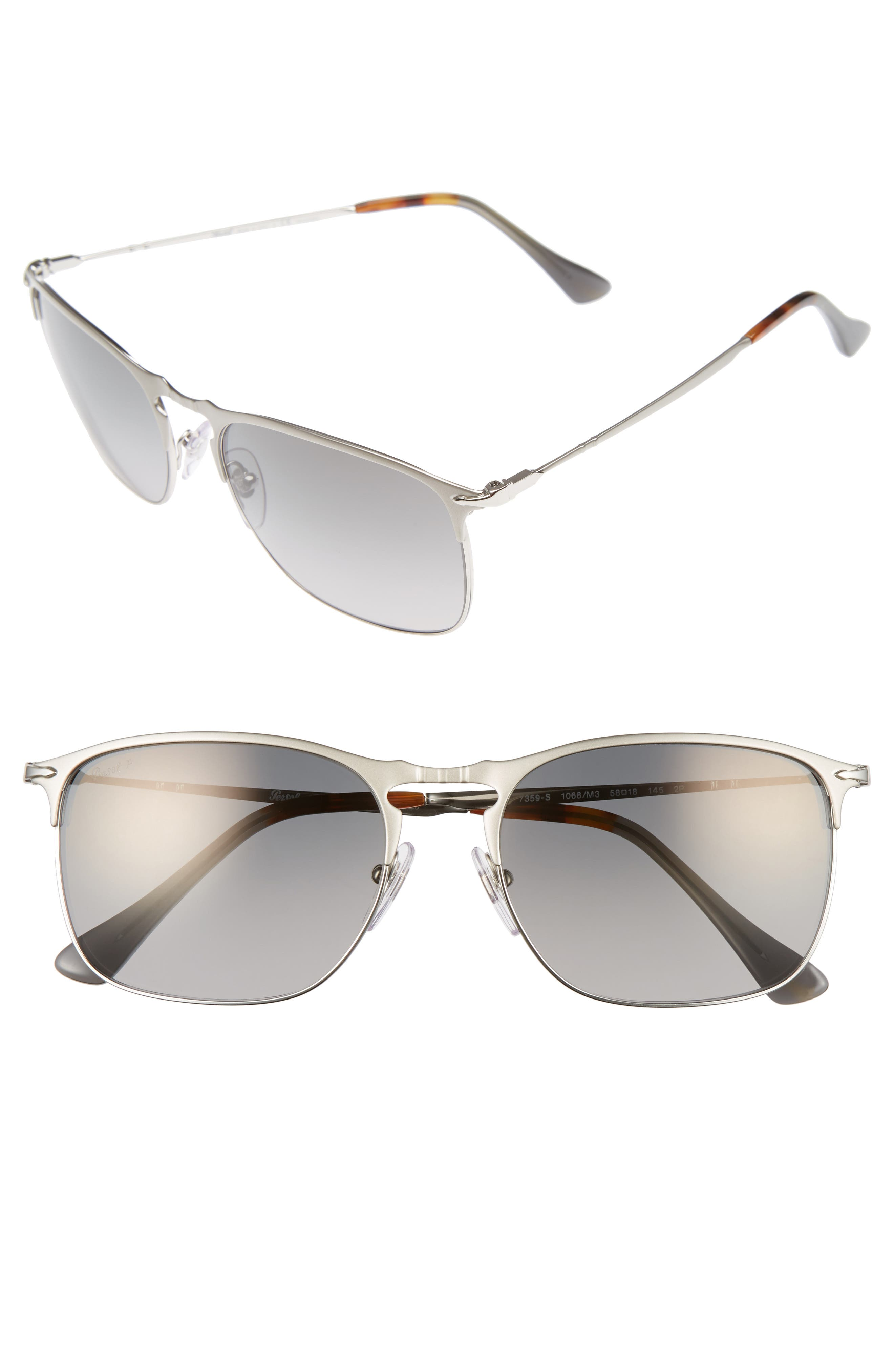 Evolution 58mm Polarized Aviator Sunglasses,                         Main,                         color, Silver