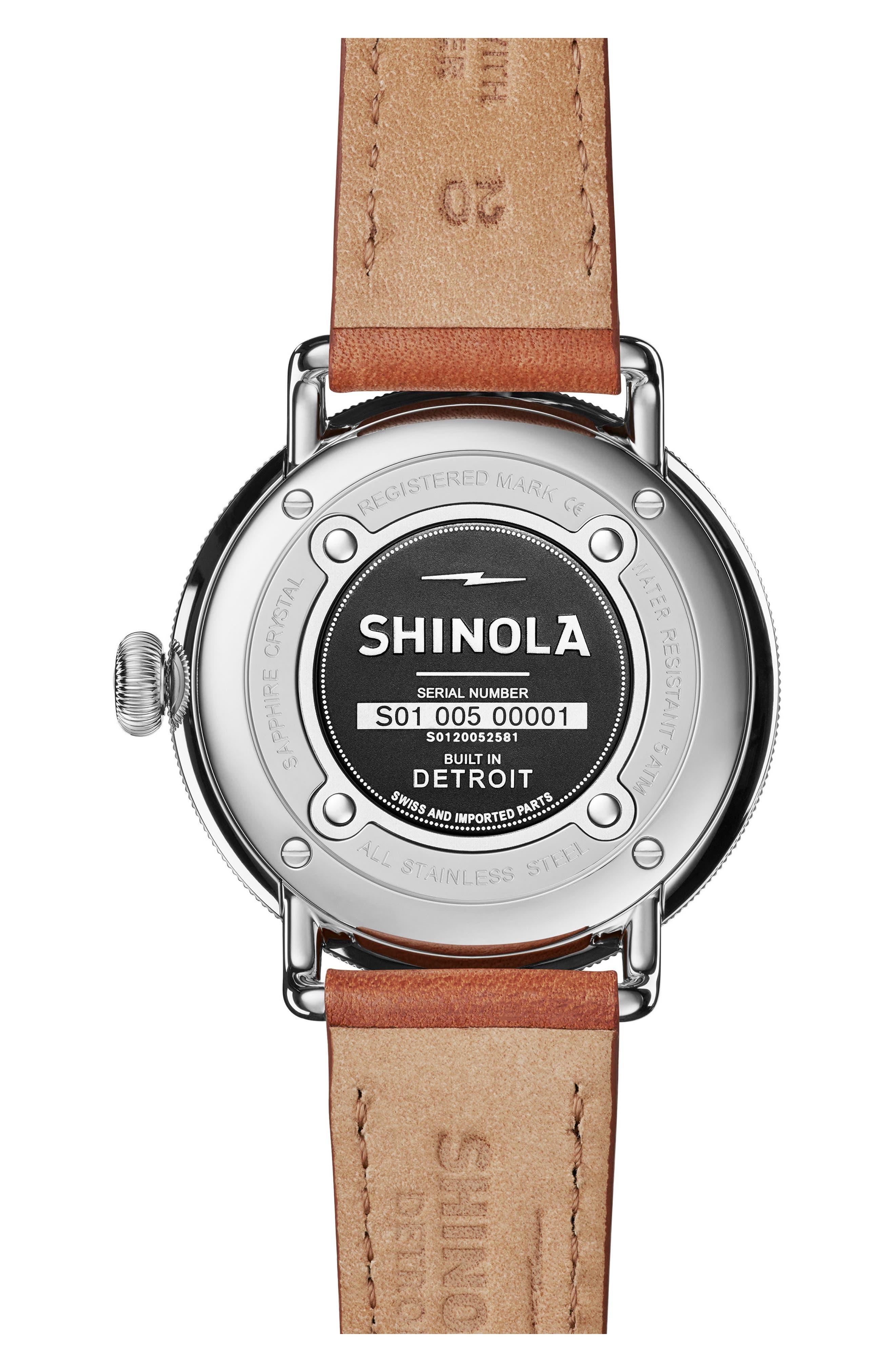 Bolt Leather Strap Watch, 42mm,                             Alternate thumbnail 2, color,                             Bourbon/ Blue Sunray/ Silver