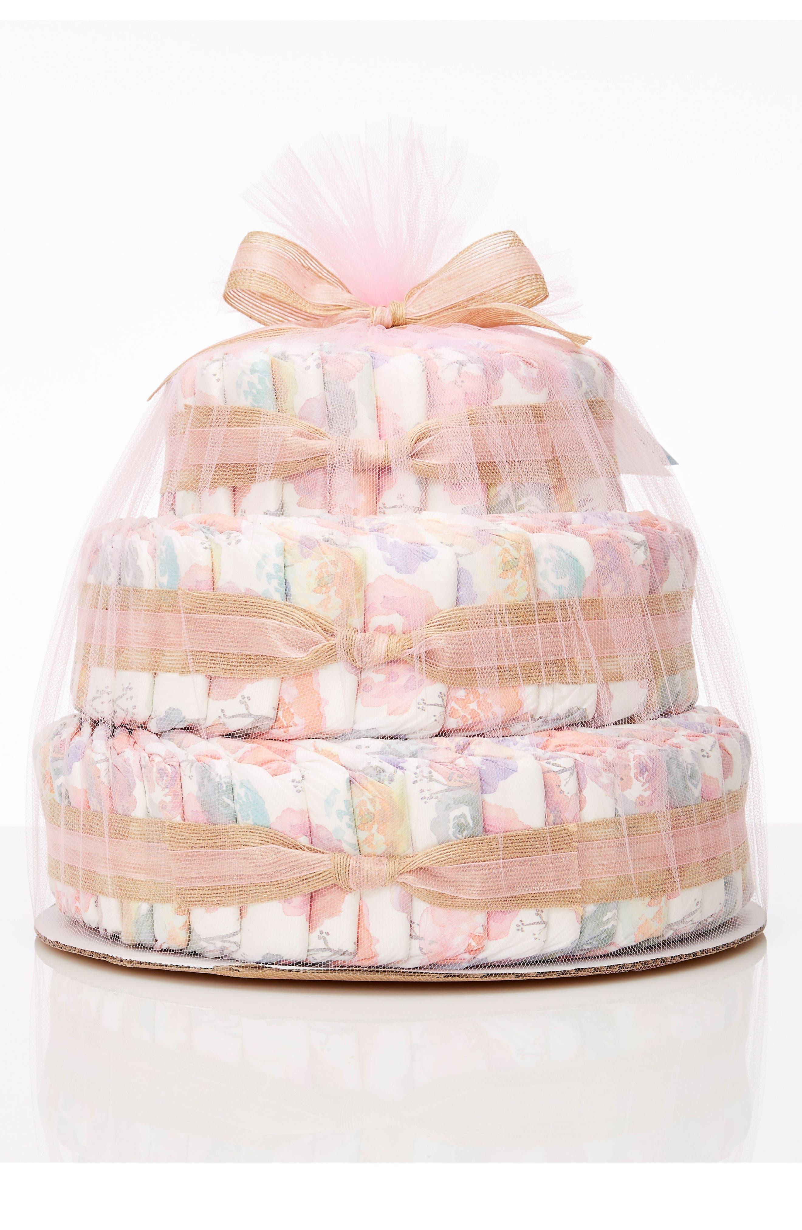 Large Diaper Cake & Full-Size Essentials Set,                         Main,                         color, Rose Blossom