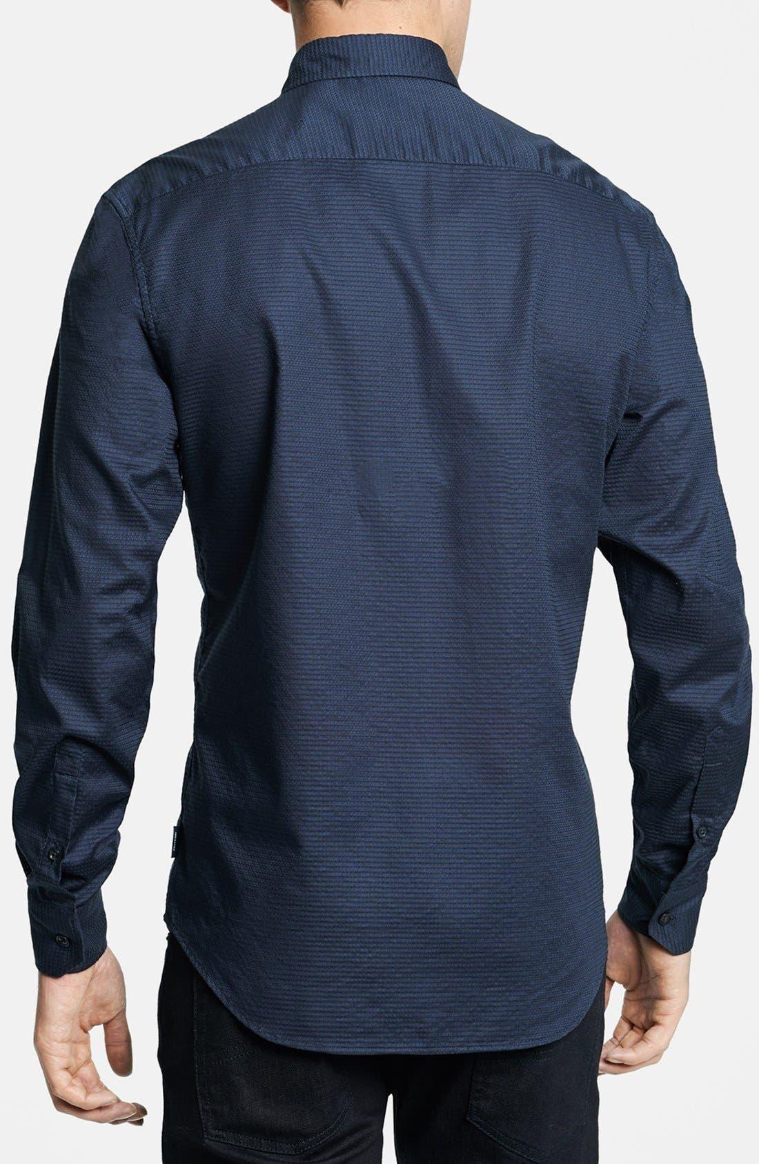 Geometric Textured Sport Shirt,                             Alternate thumbnail 2, color,                             Navy