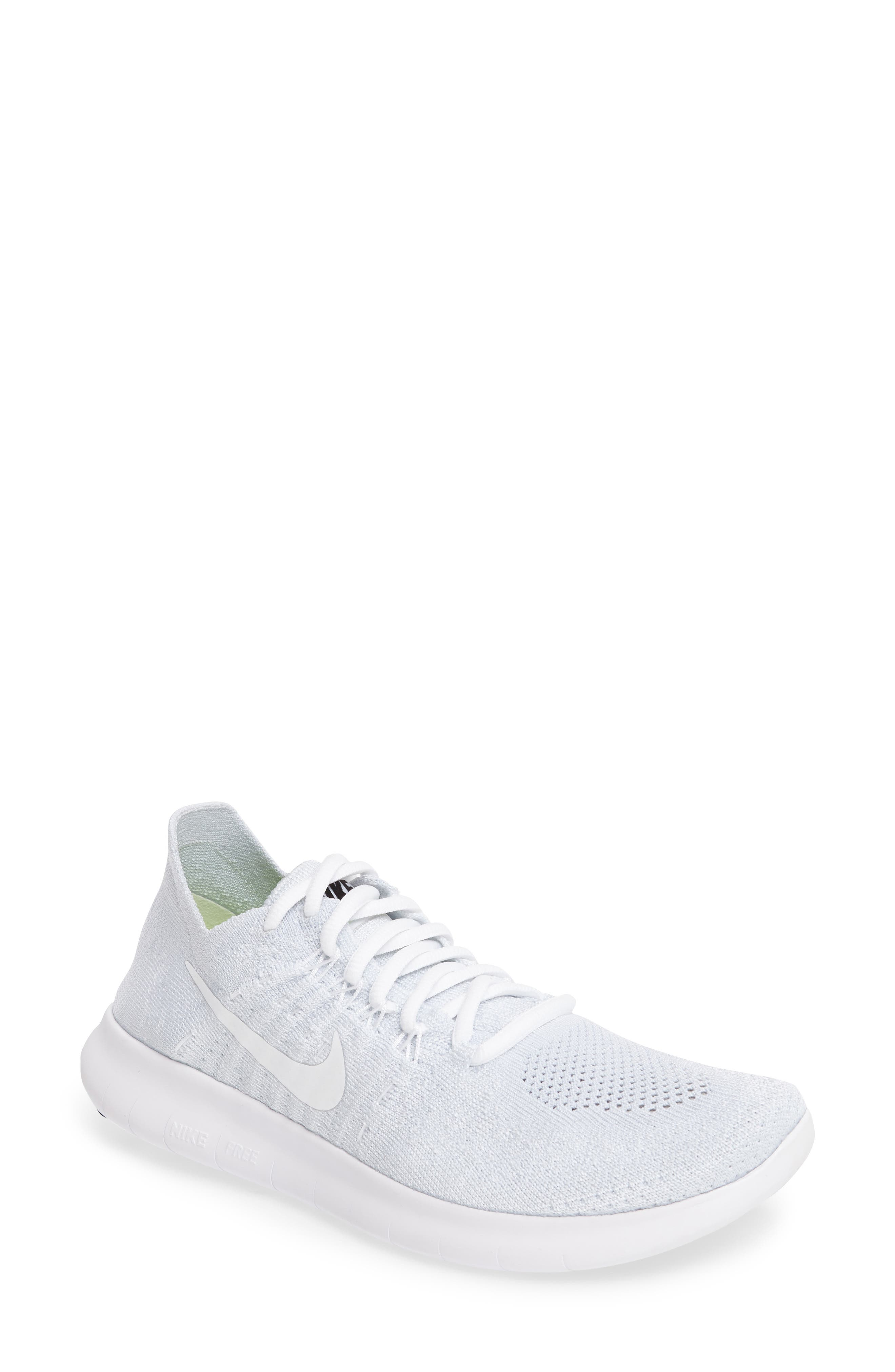 Free Run Flyknit 2 Running Shoe,                         Main,                         color, White/ Platinum/ Black