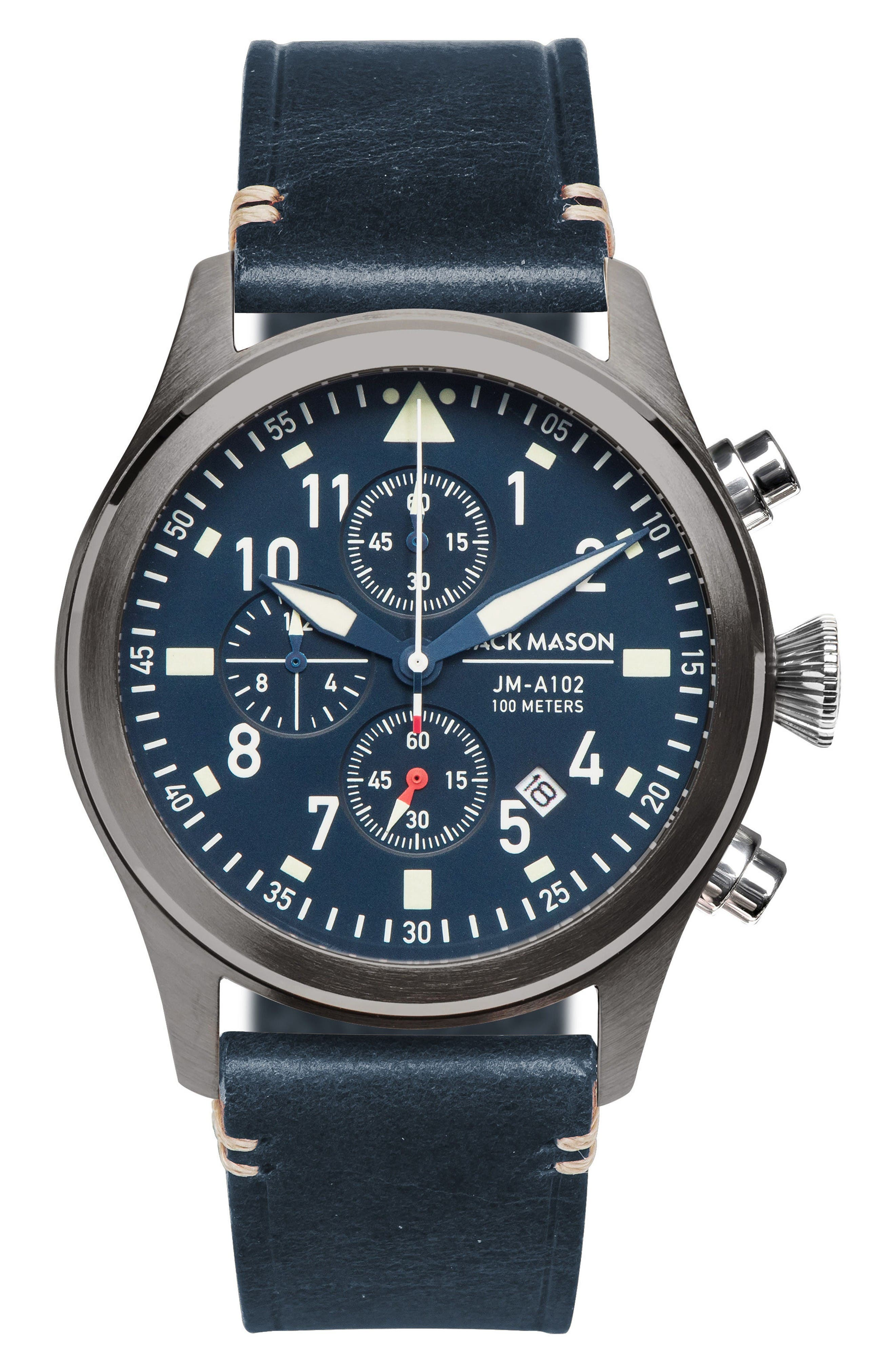 Aviation Chronograph Leather Strap Watch, 42mm,                         Main,                         color, Navy/ Navy