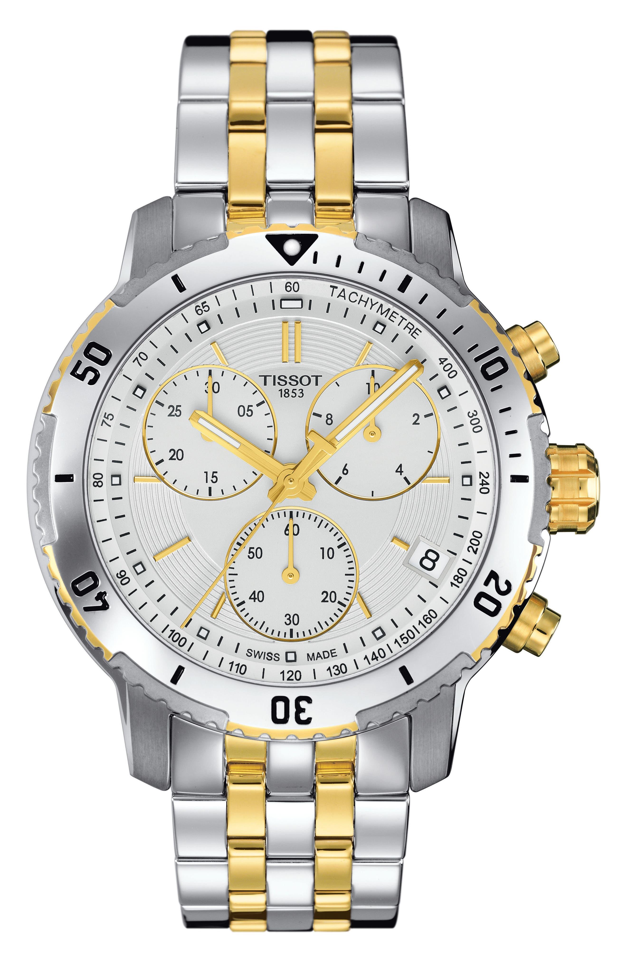 PRS200 Chronograph Bracelet Watch, 41mm,                             Main thumbnail 1, color,                             Silver/ White/ Gold