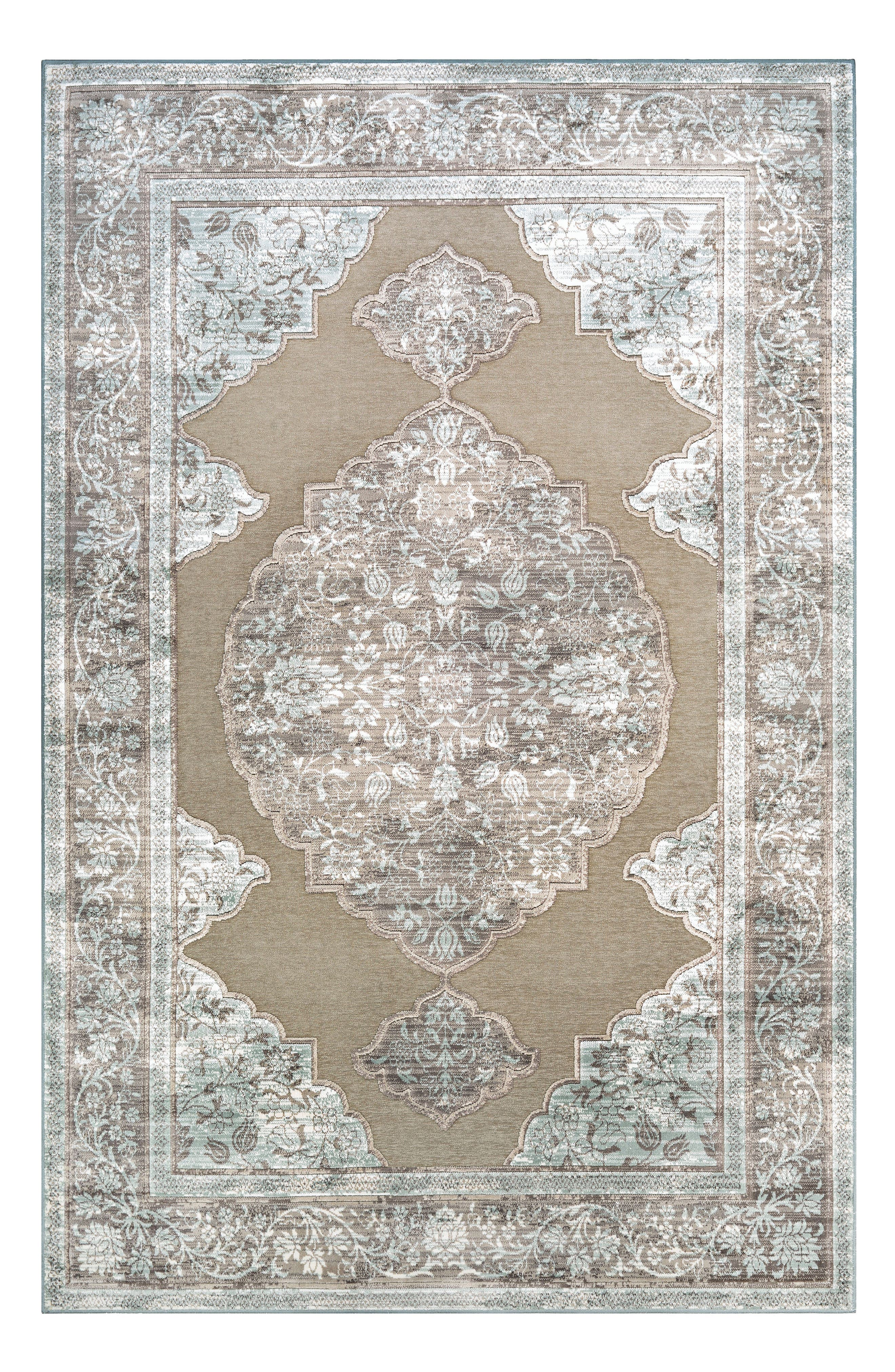 Cire Floral Medallion Area Rug,                         Main,                         color, Taupe