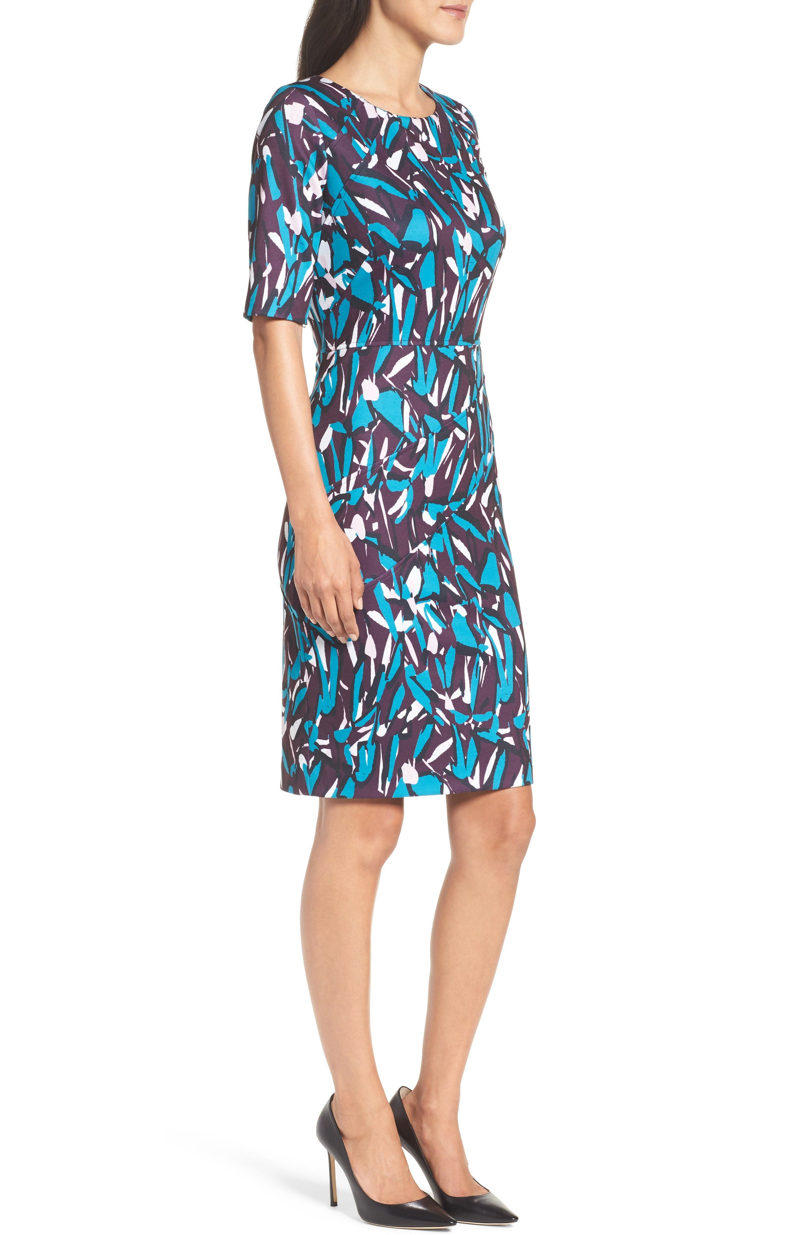 Ponte Pencil Dress,                             Alternate thumbnail 3, color,                             Plum Multi