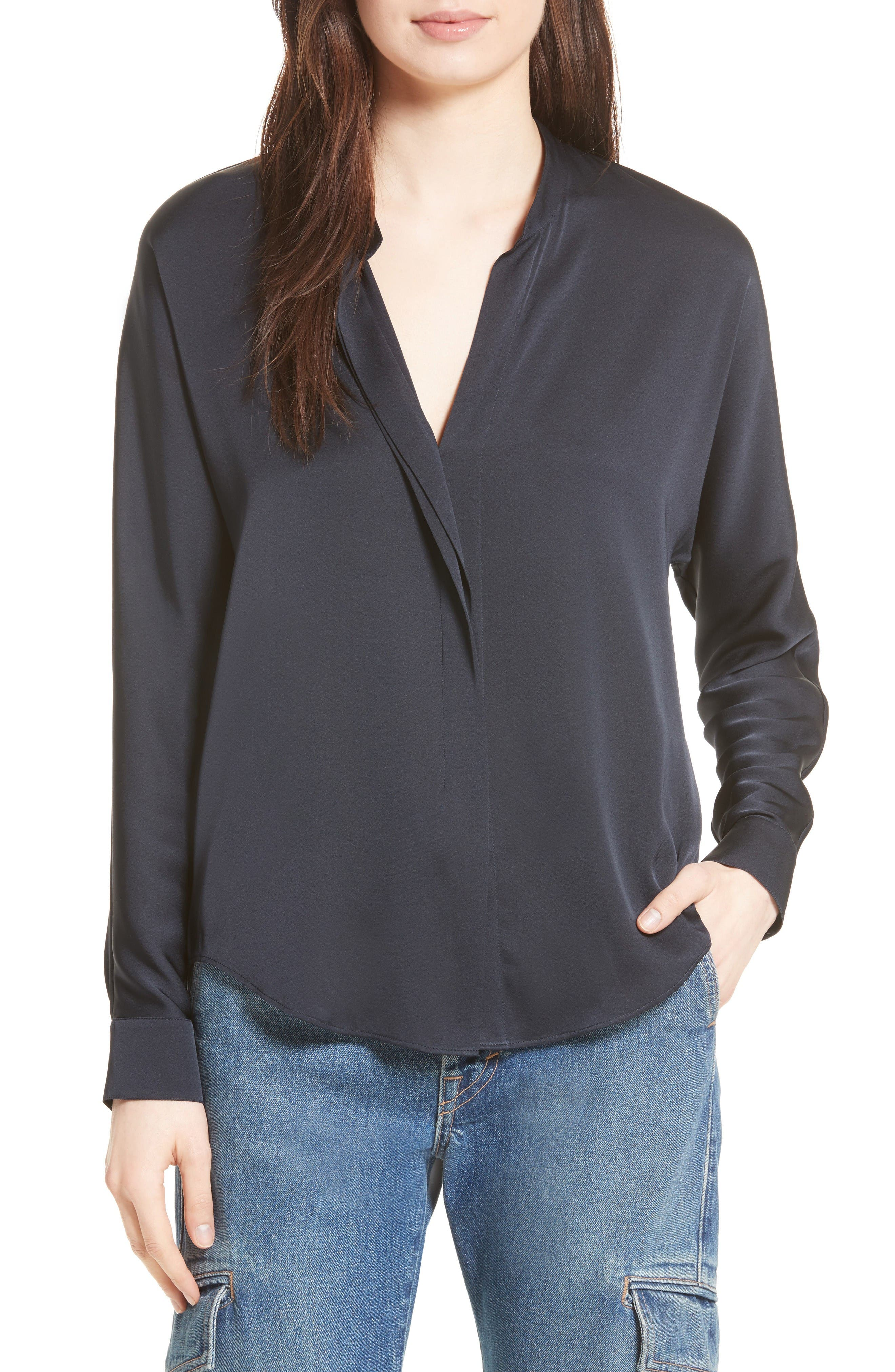 Vince Double Front Stretch Silk Shirt