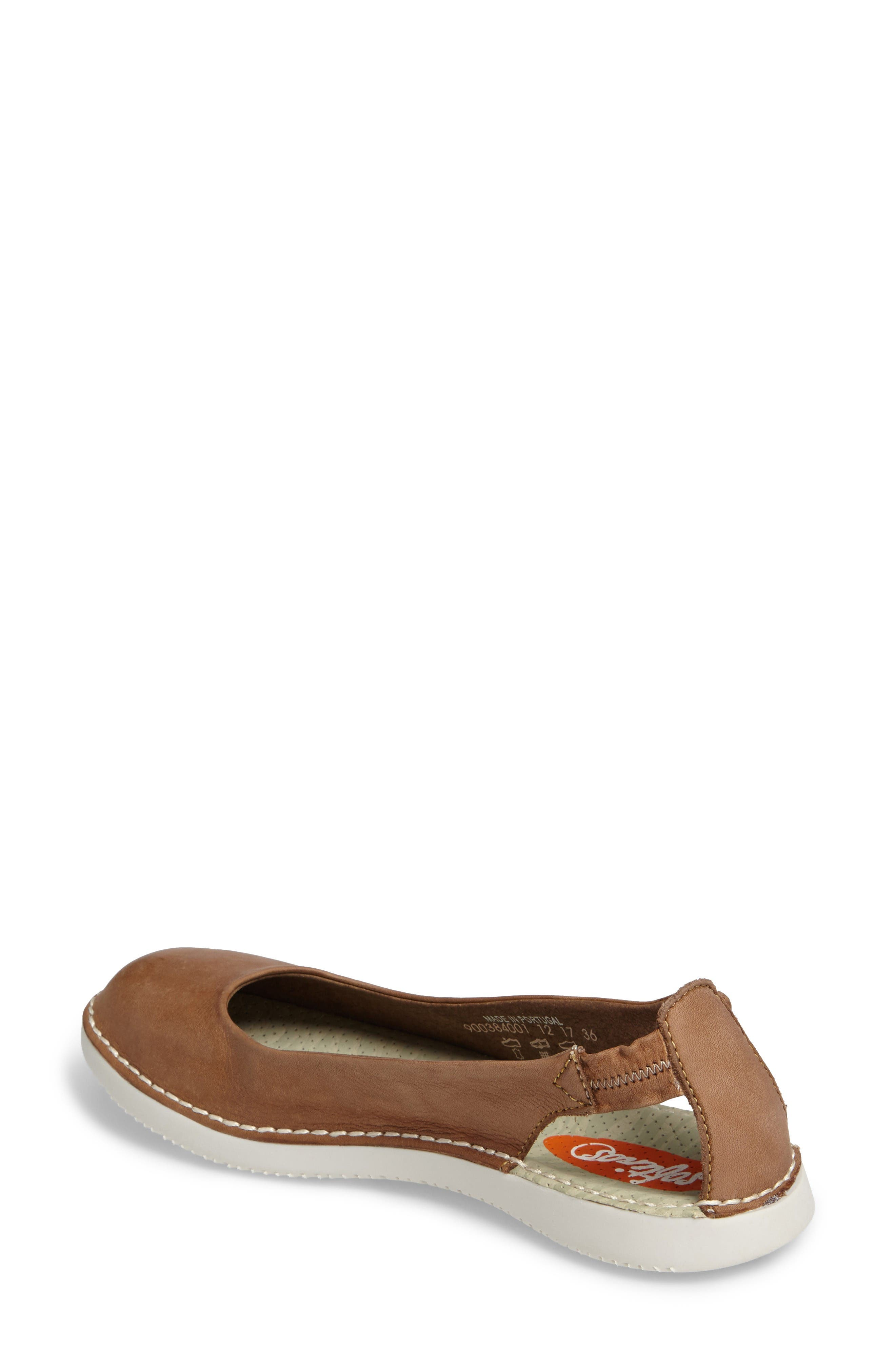 Tor Ballerina Flat,                             Alternate thumbnail 2, color,                             Brown Washed Leather