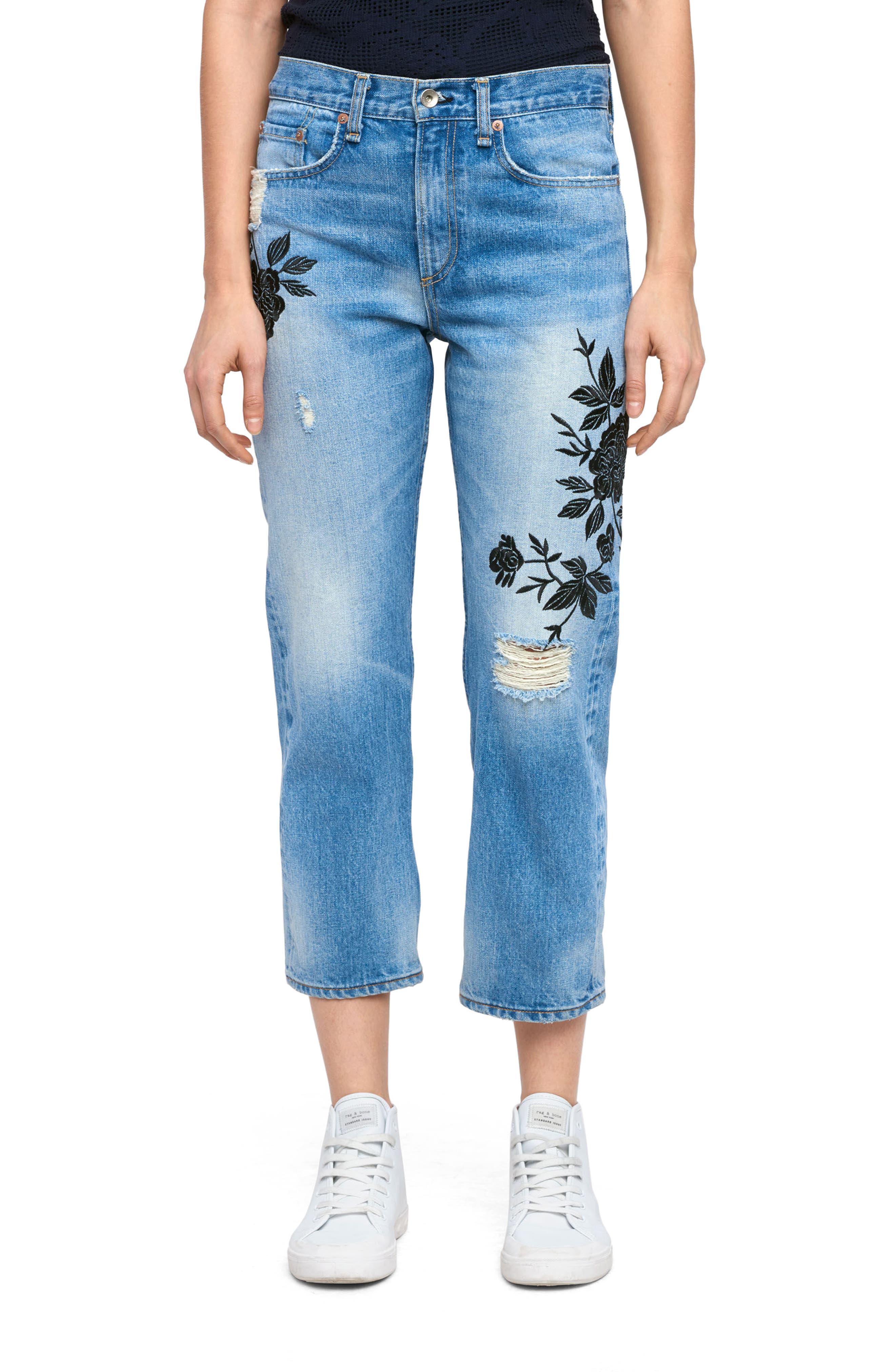 rag & bone/JEAN Marilyn Crop Jeans (Ramona Embroidery)