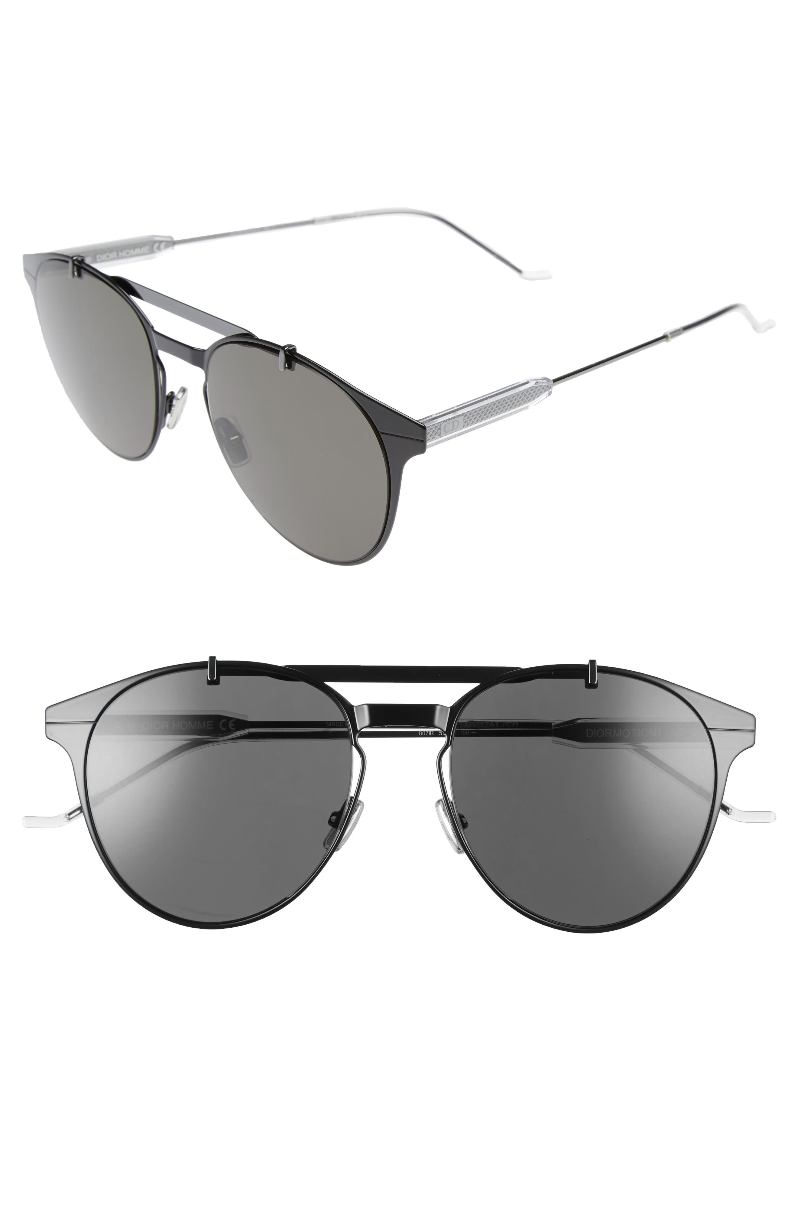 Motion 53mm Sunglasses,                         Main,                         color, Black