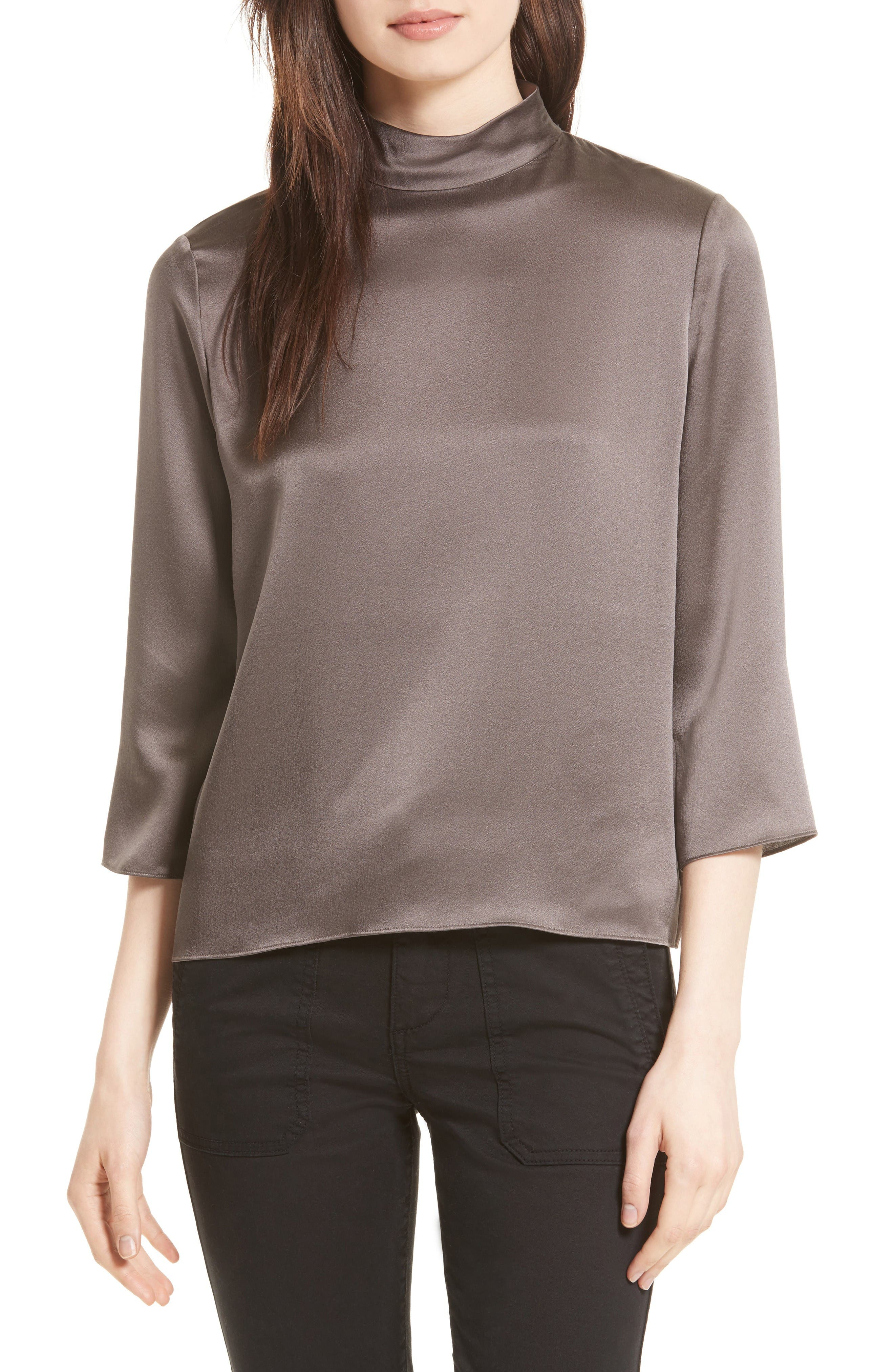Alternate Image 1 Selected - Vince Mock Neck Silk Satin Blouse