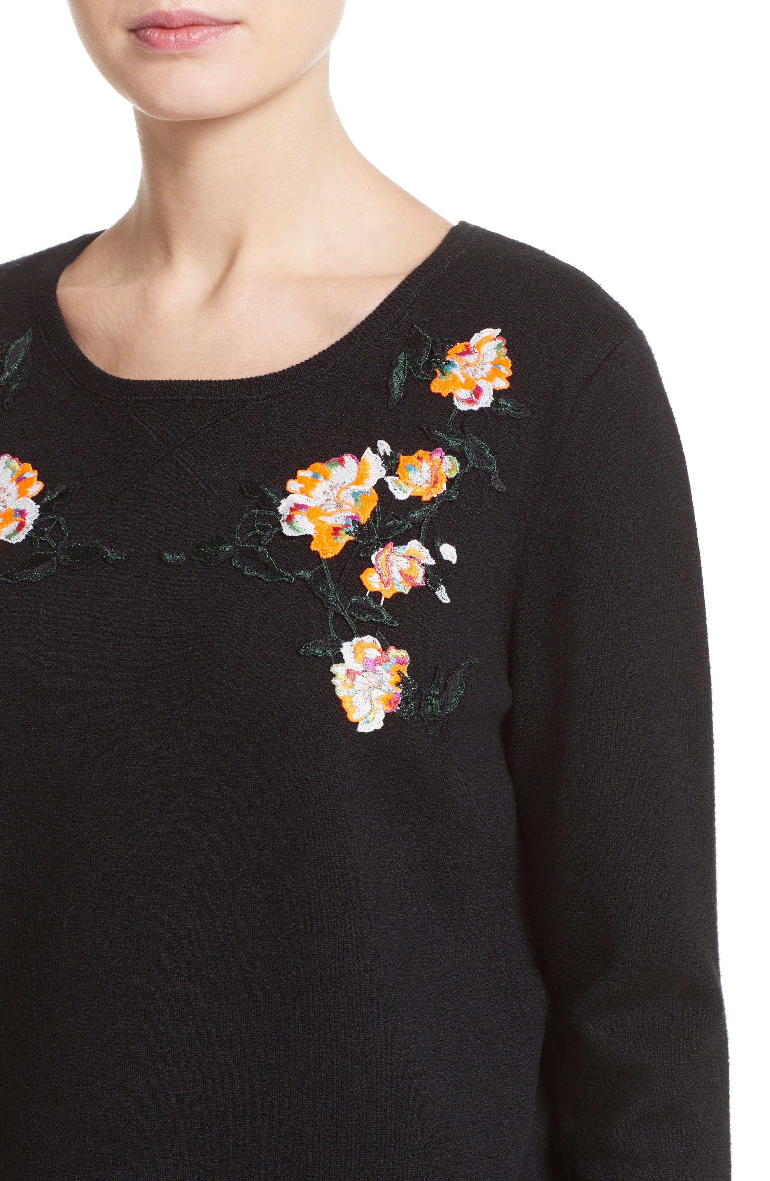 Floral Embroidered Merino Wool Blend Sweater,                             Alternate thumbnail 7, color,                             Black