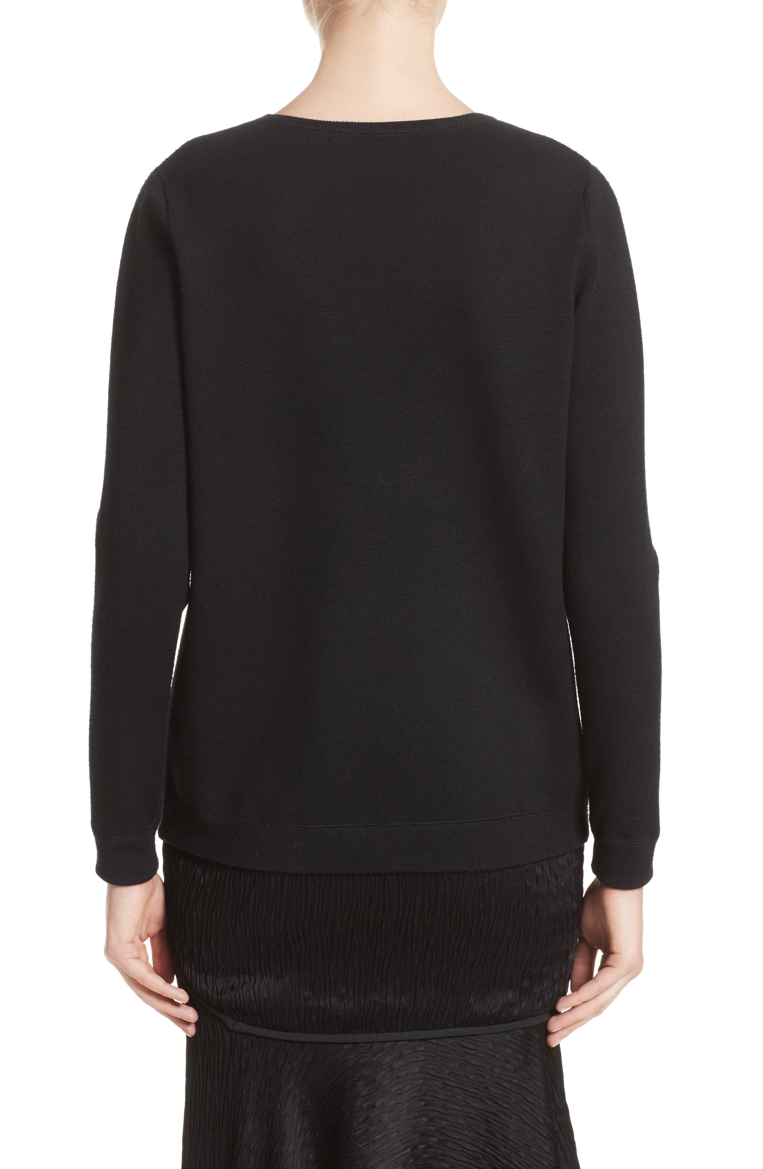 Floral Embroidered Merino Wool Blend Sweater,                             Alternate thumbnail 2, color,                             Black
