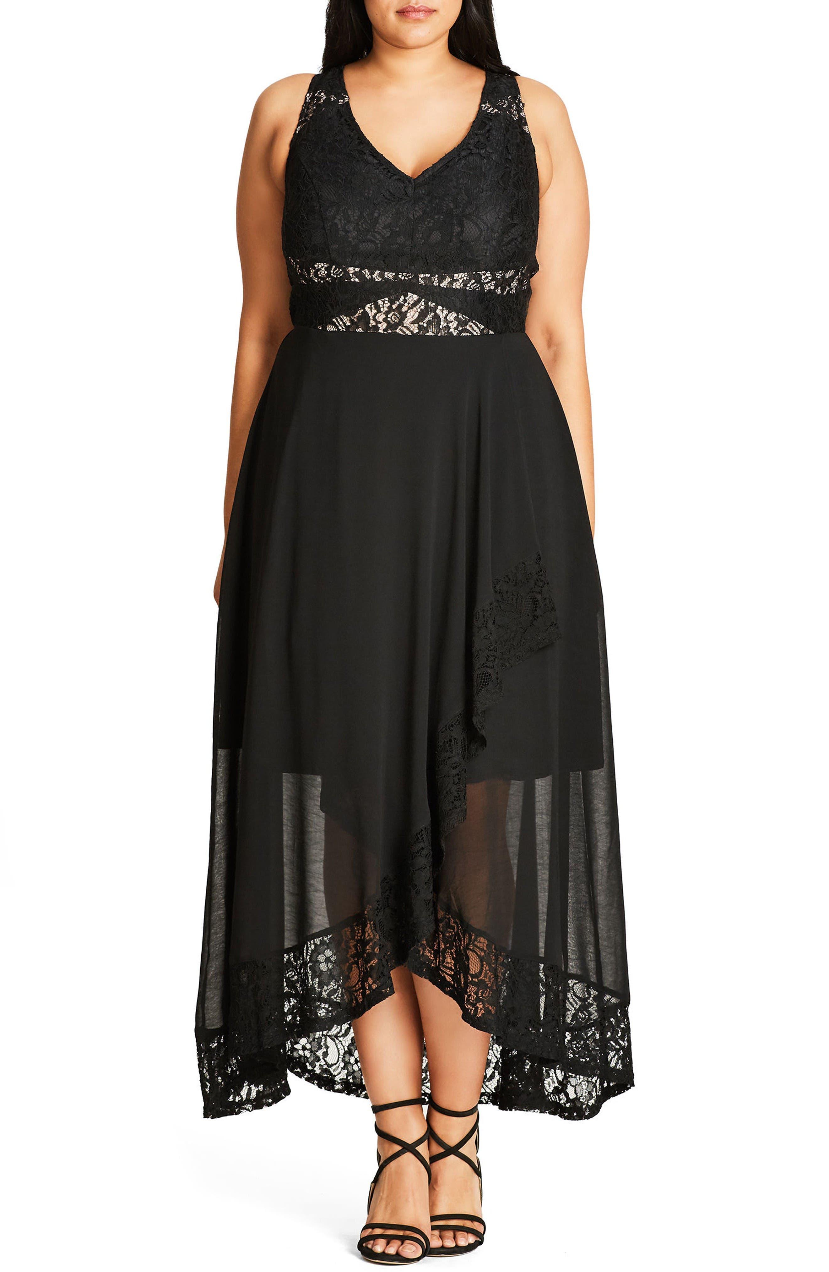 Seduction Lace & Chiffon Maxi Dress,                         Main,                         color, Black