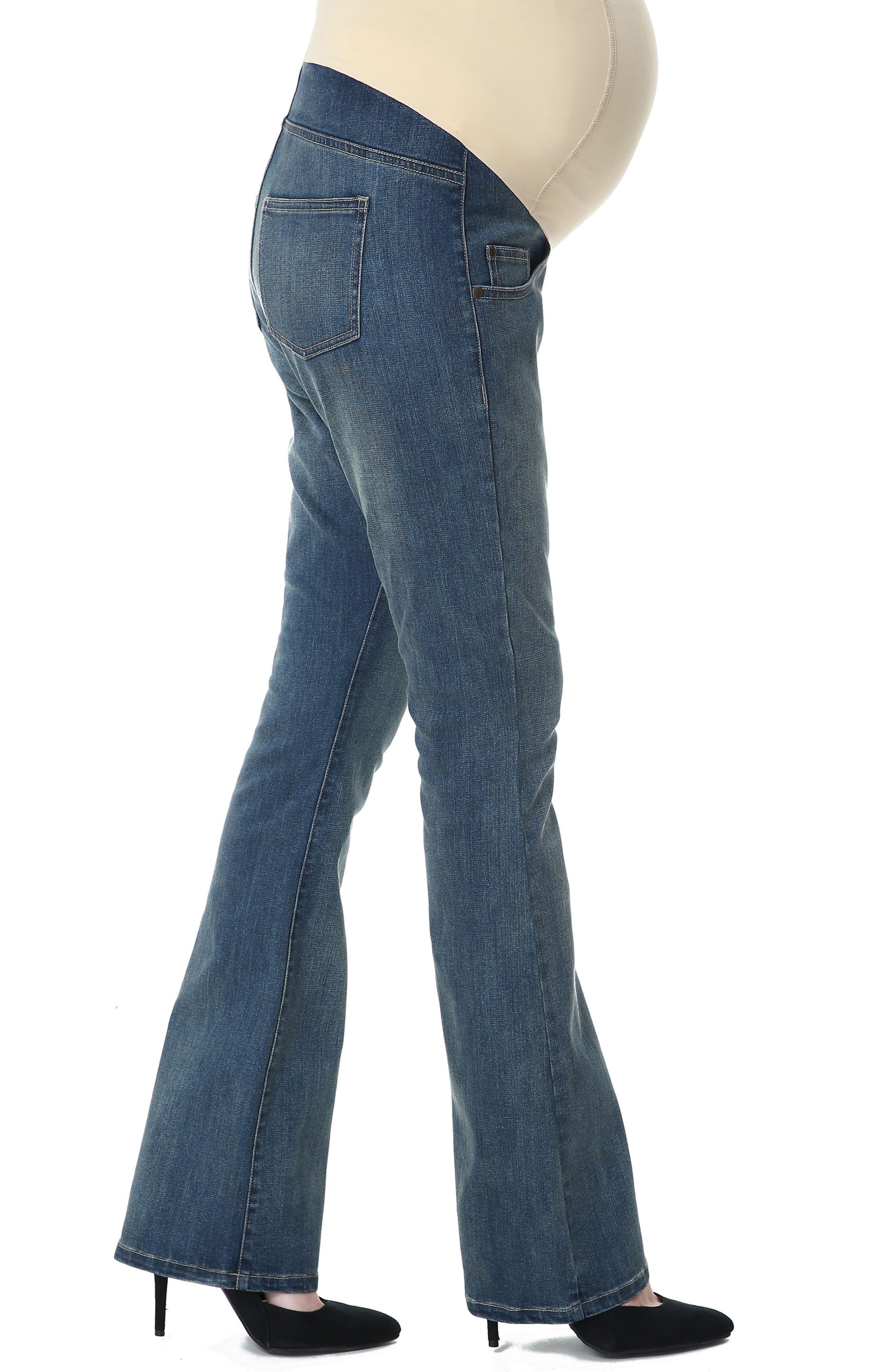 Dixie Maternity Flare Jeans,                             Alternate thumbnail 4, color,                             Medium Indigo