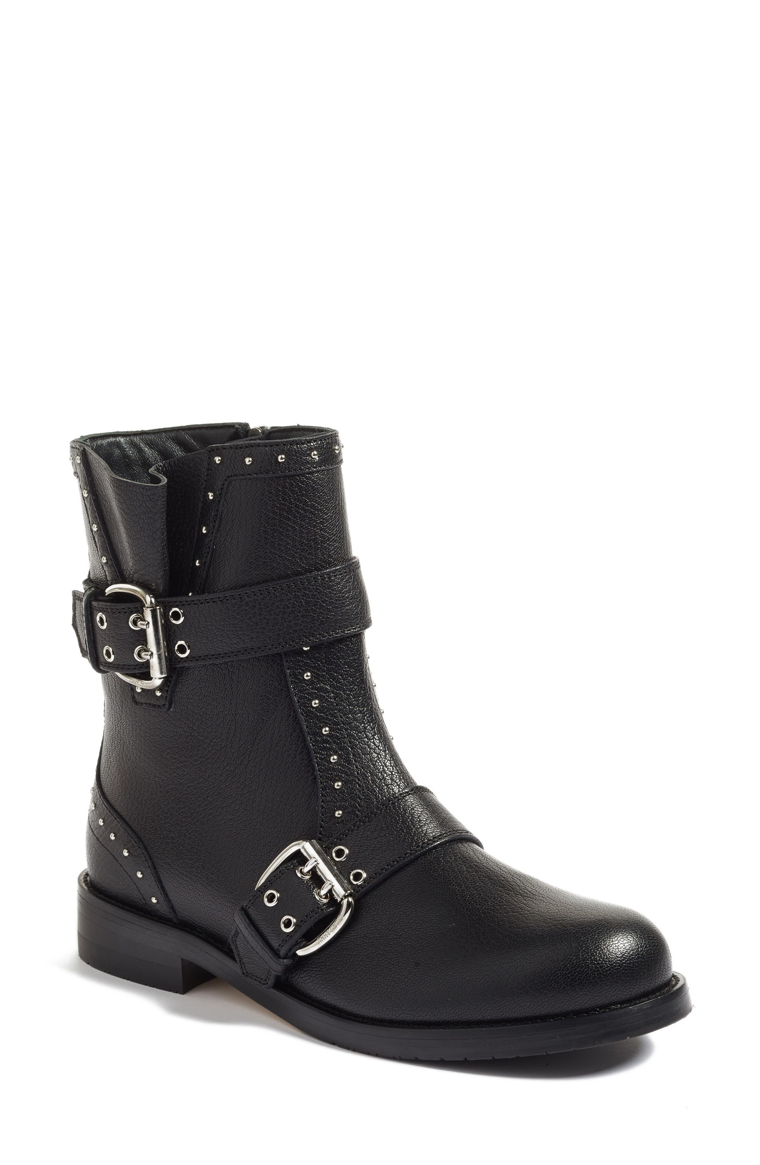 Blyss Combat Boot,                         Main,                         color, Black Leather