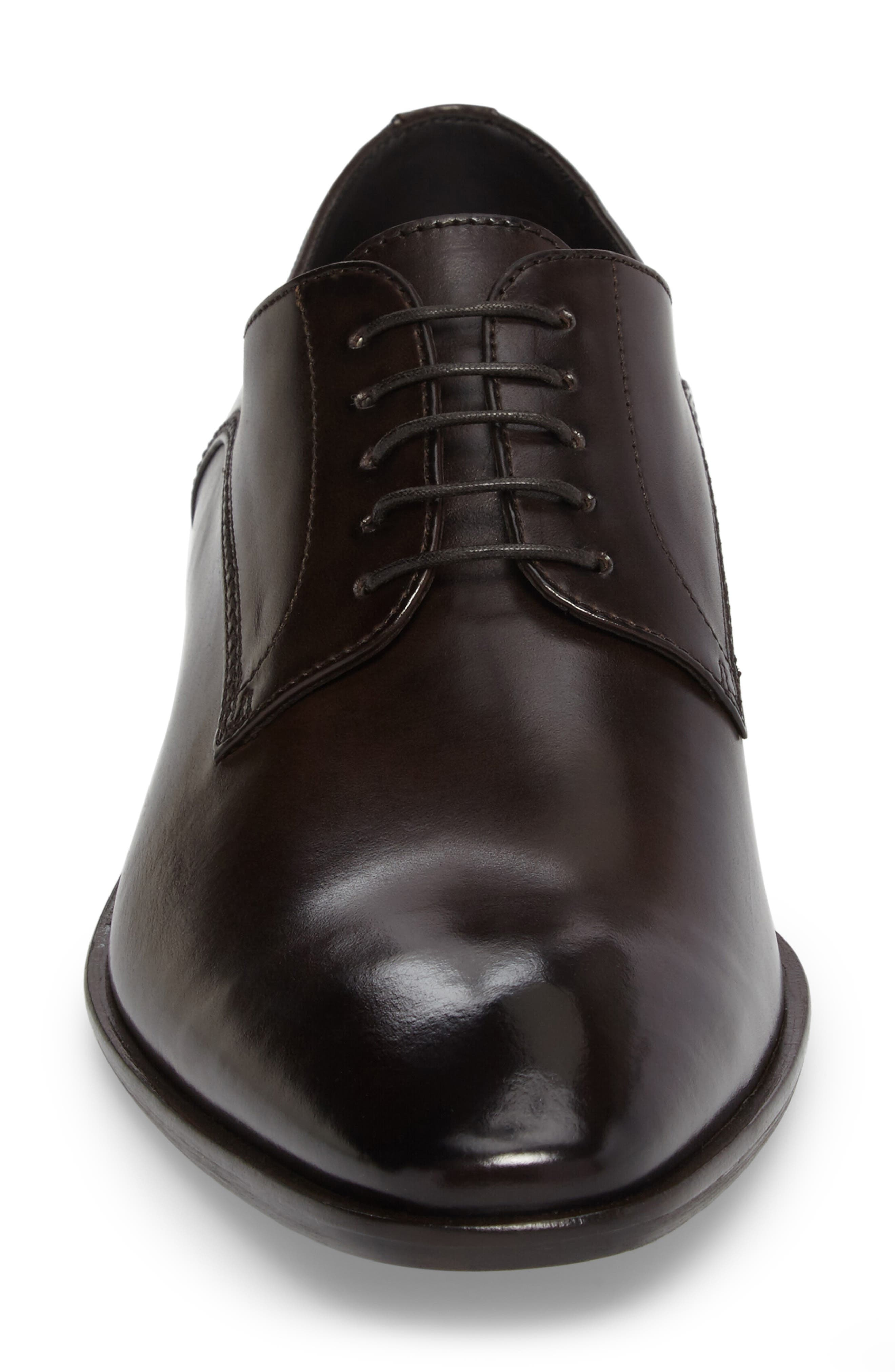 Carmons Plain Toe Derby,                             Alternate thumbnail 4, color,                             Dark Brown Leather