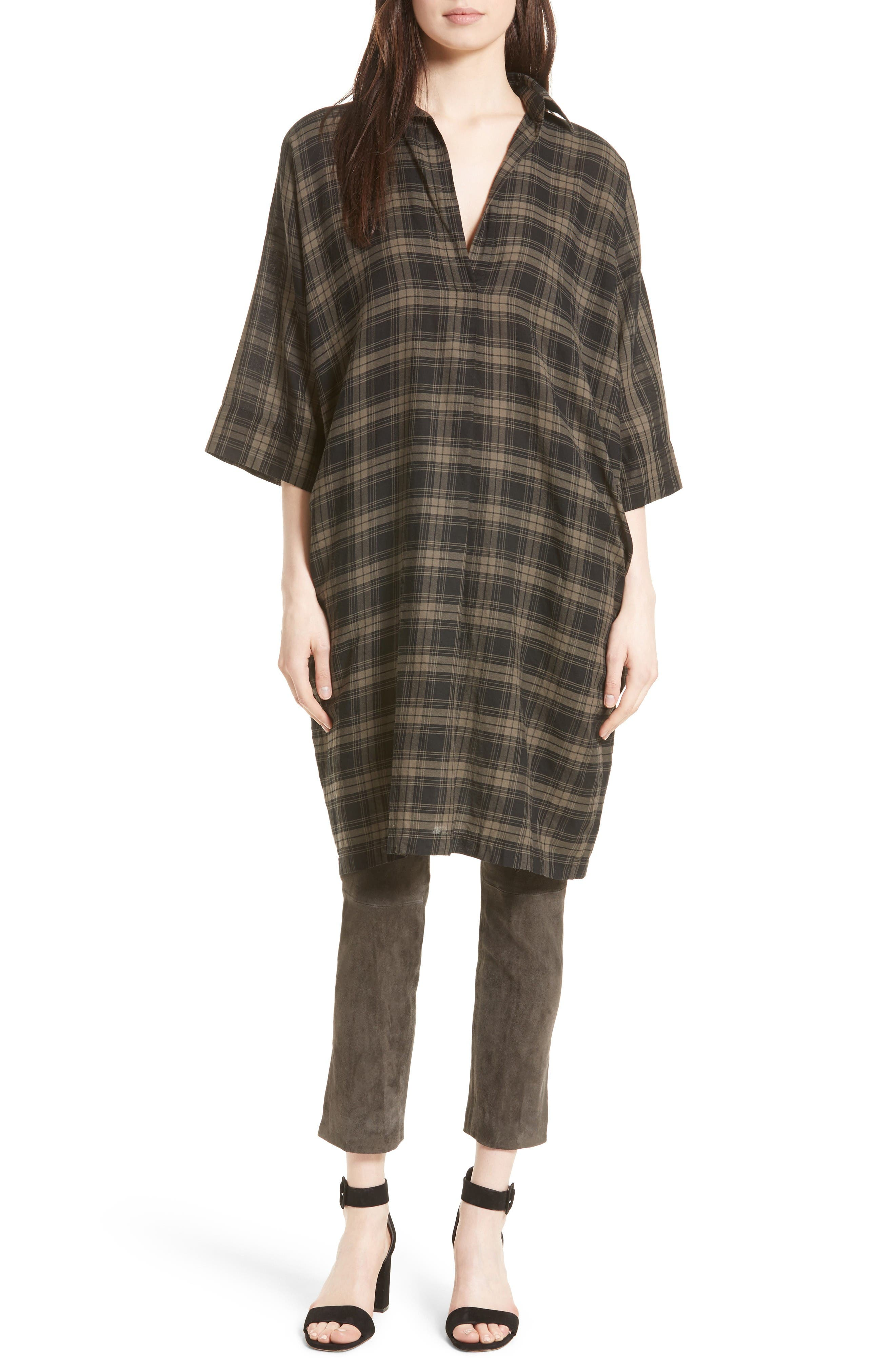 VINCE Plaid Shirtdress