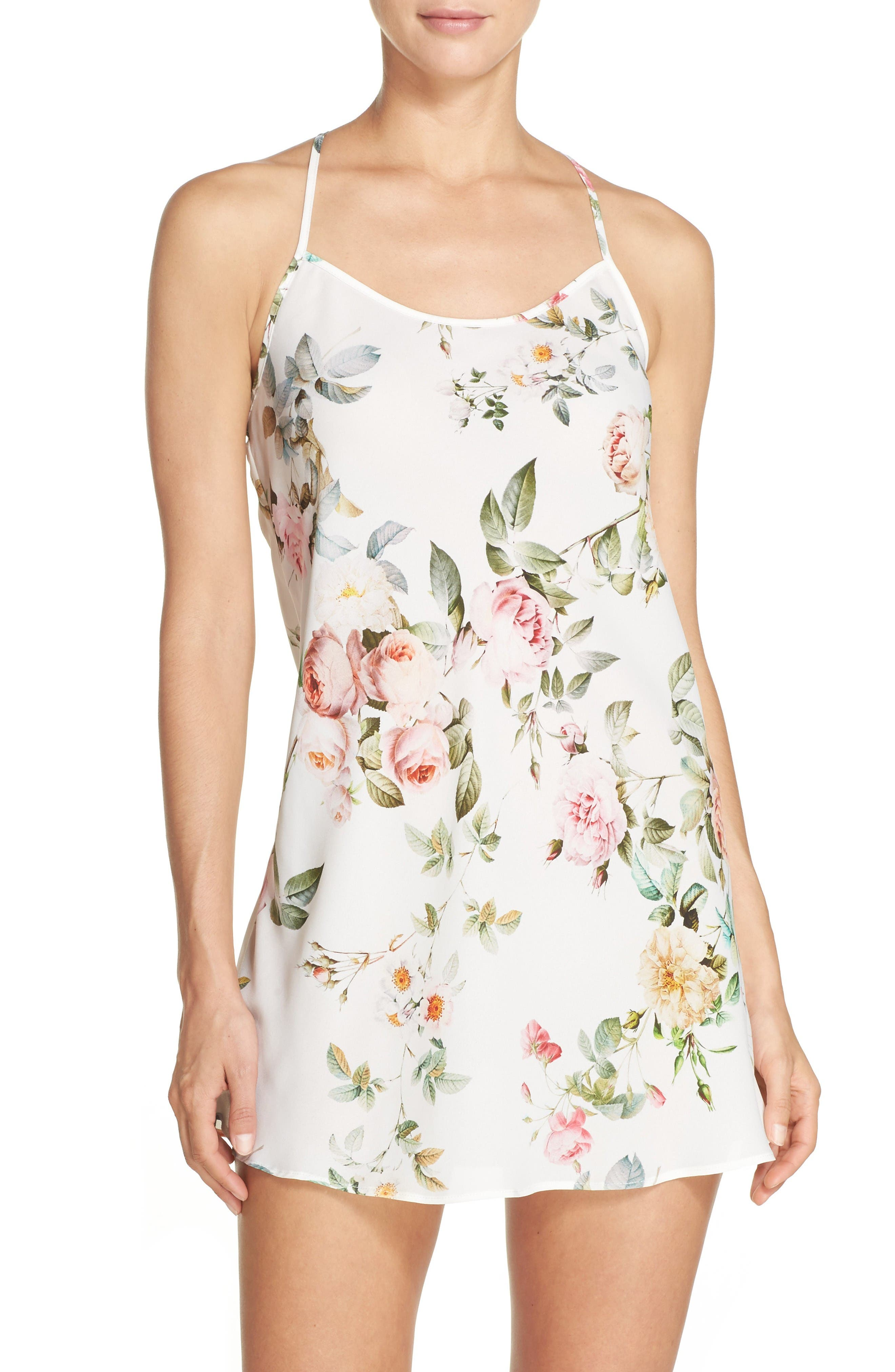 Abigal Chemise,                             Main thumbnail 1, color,                             Ivory Floral