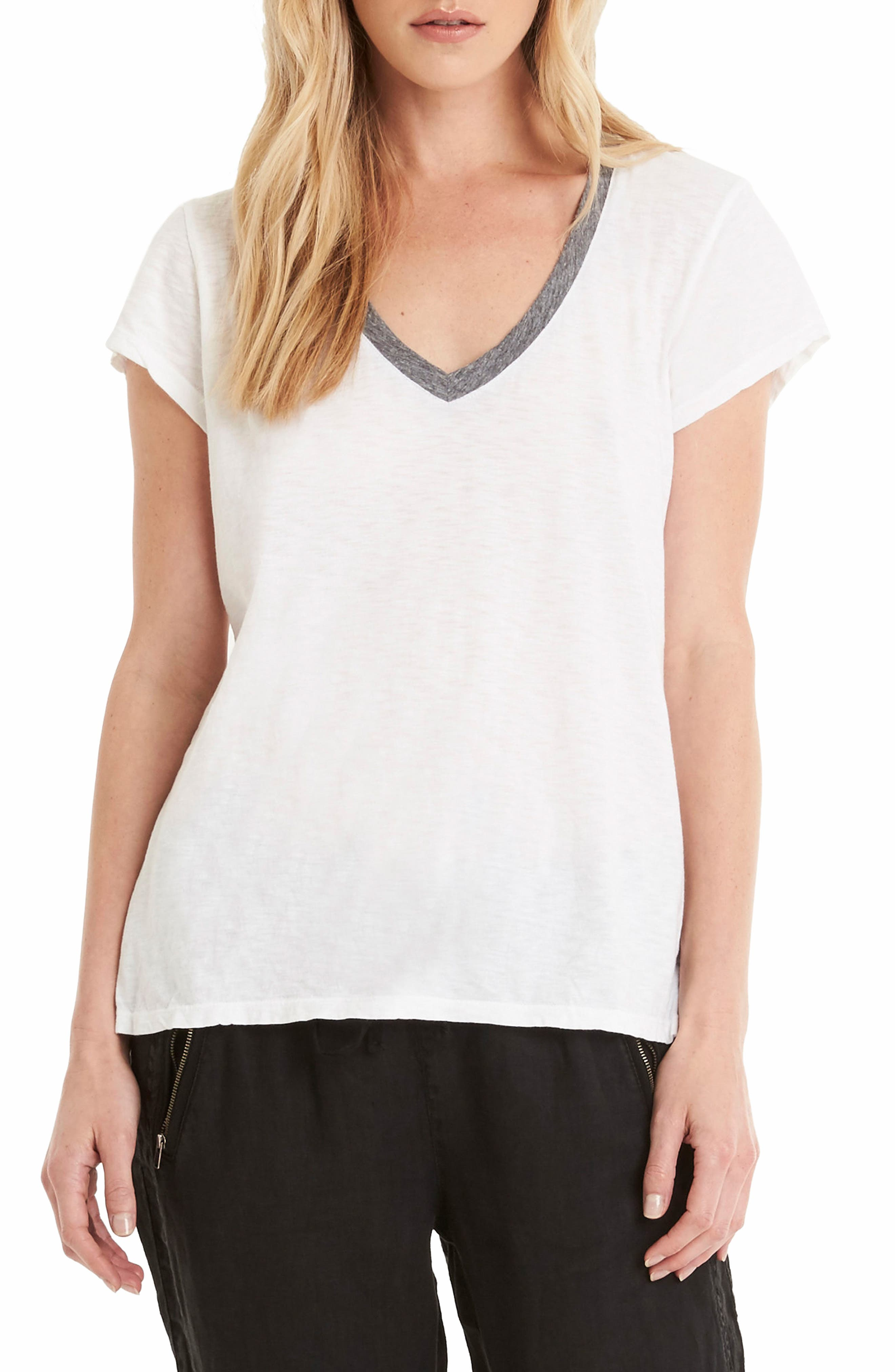 Contrast V-Neck Tee,                         Main,                         color, White