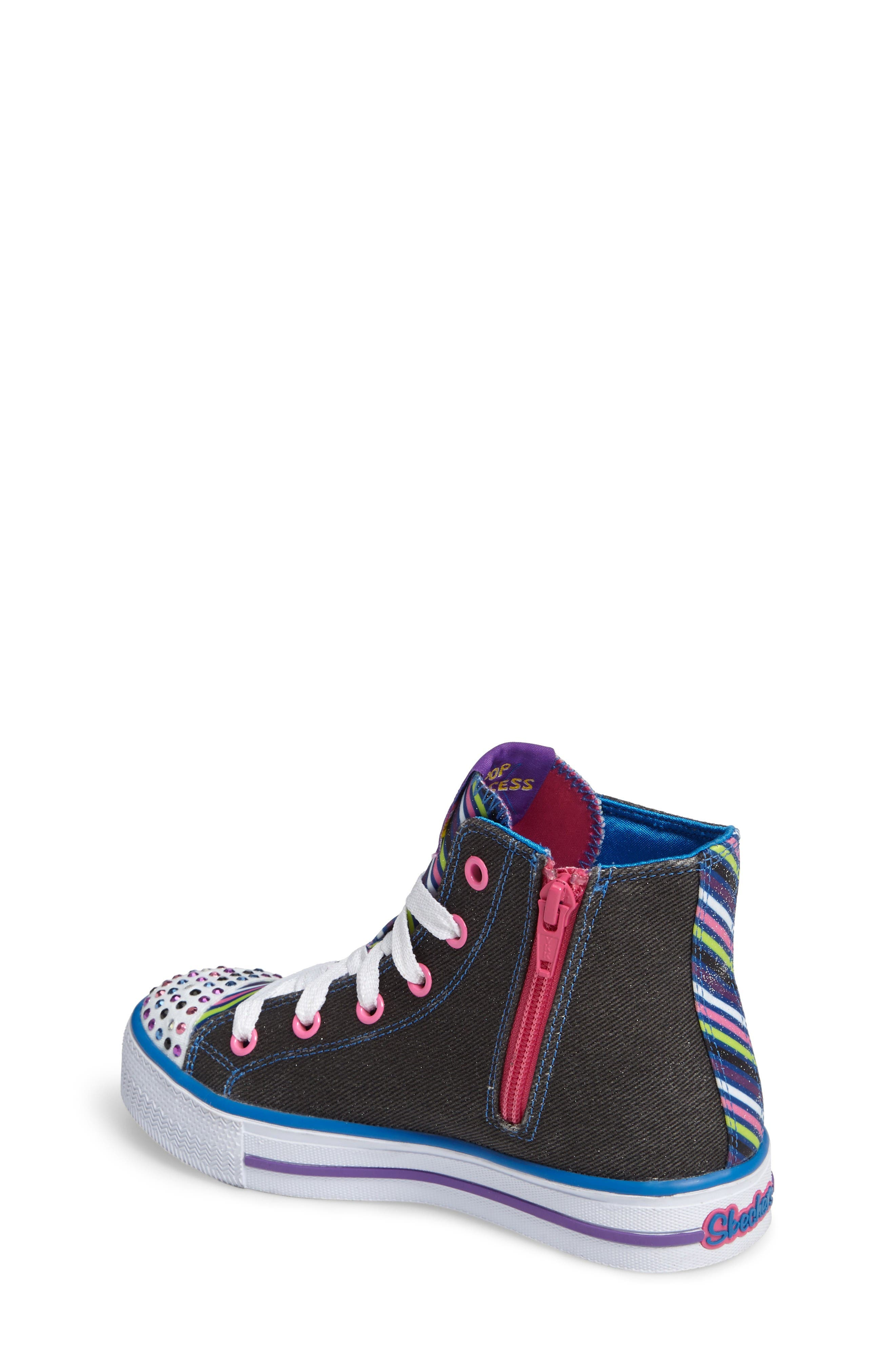 Twinkle Toes Shuffles Light-Up High Top Sneaker,                             Alternate thumbnail 2, color,                             Black Canvas