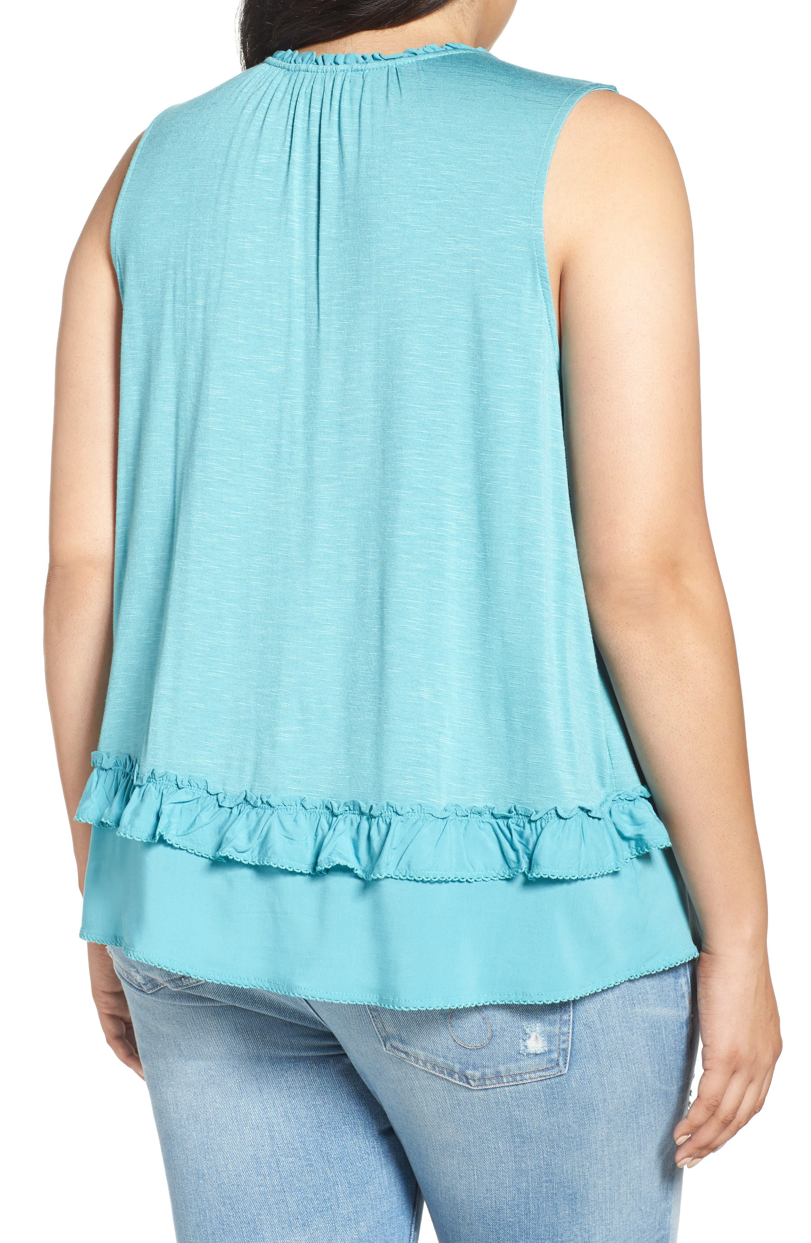 Alternate Image 2  - Democracy Ruffle Trim Tie Neck Top (Plus Size)