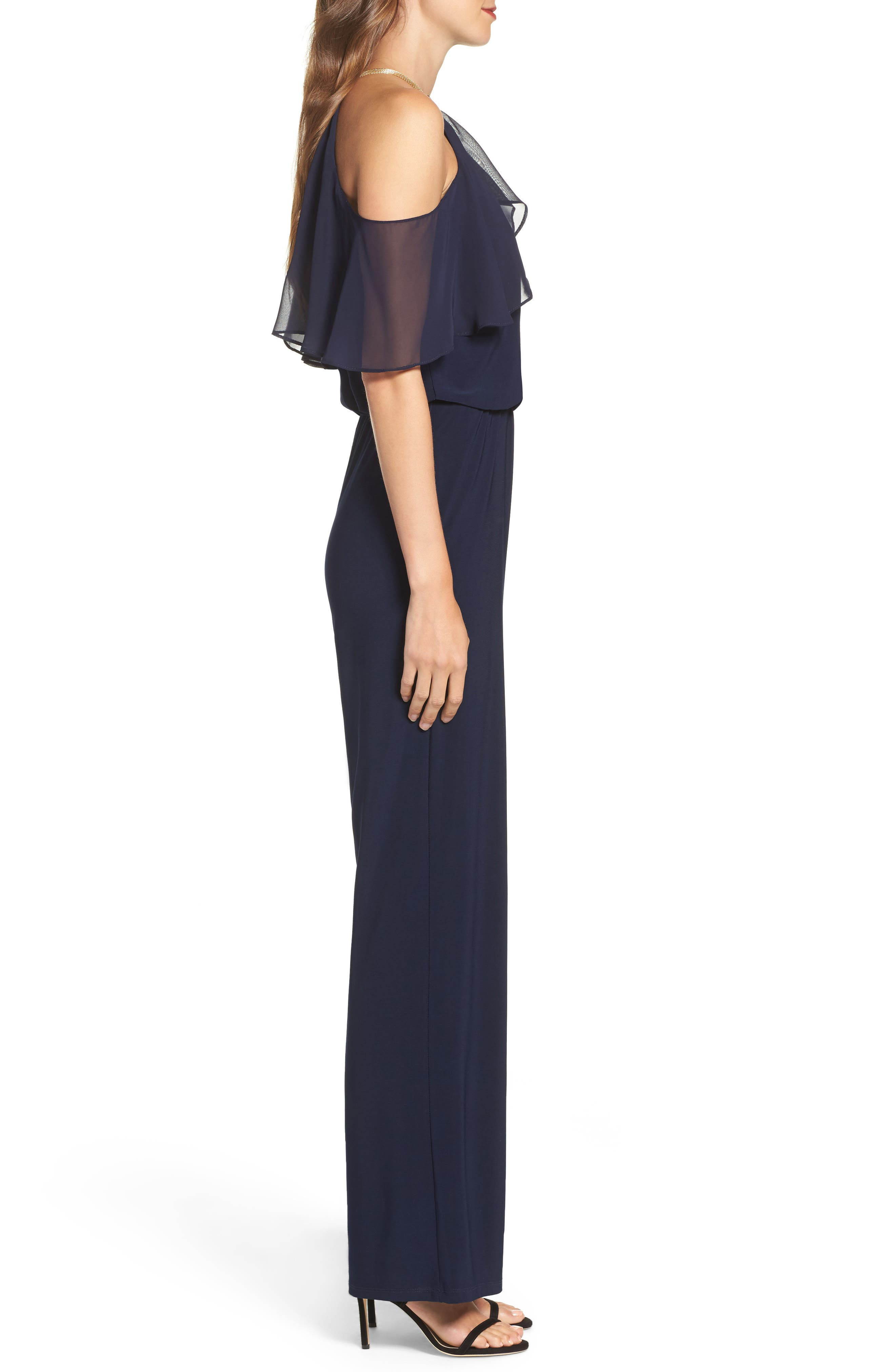 Cold Shoulder Jumpsuit,                             Alternate thumbnail 3, color,                             Navy
