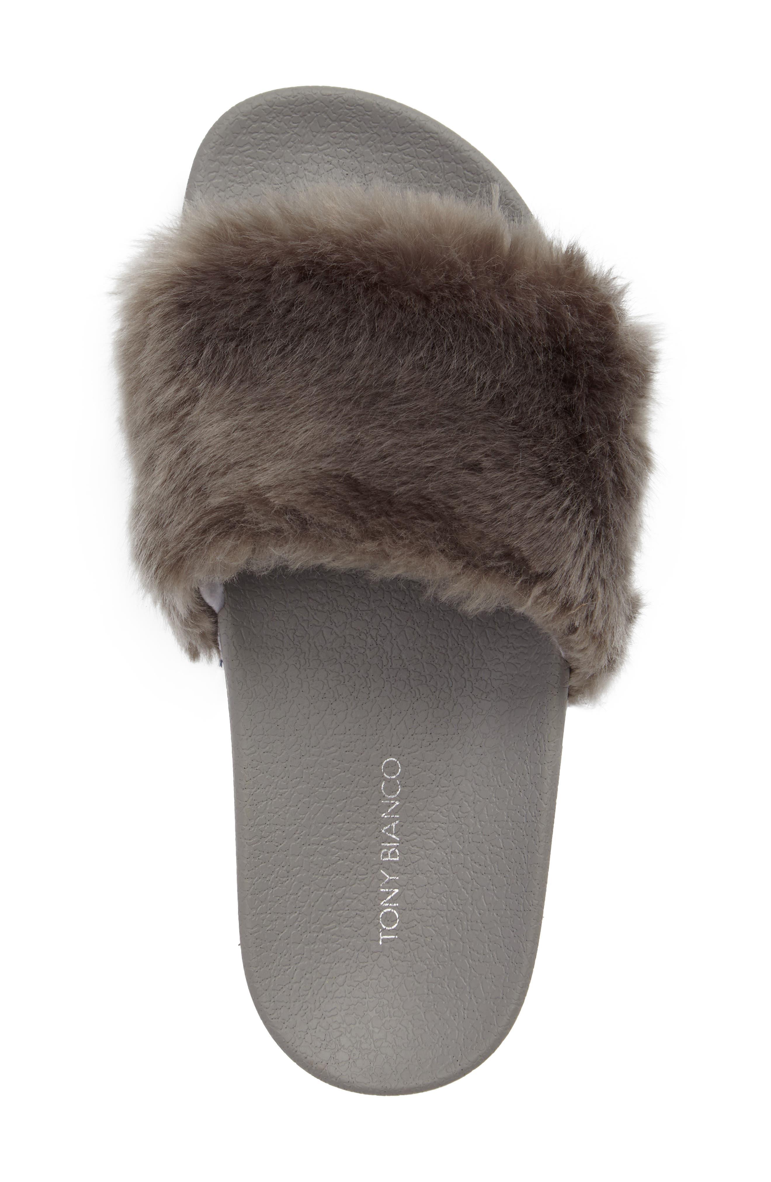 Vixen Slide Sandal,                             Alternate thumbnail 5, color,                             Grey Faux Fur