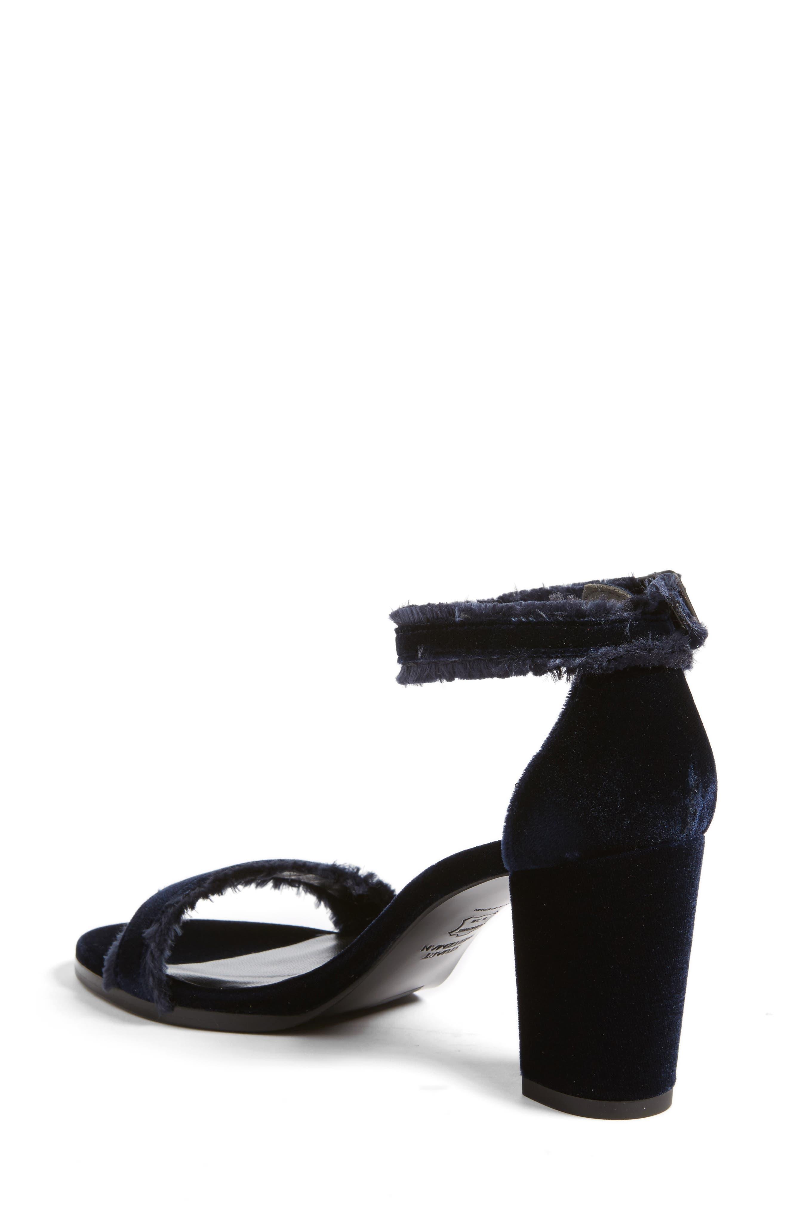 Frayed Ankle Strap Sandal,                             Alternate thumbnail 2, color,                             Navy Velvet