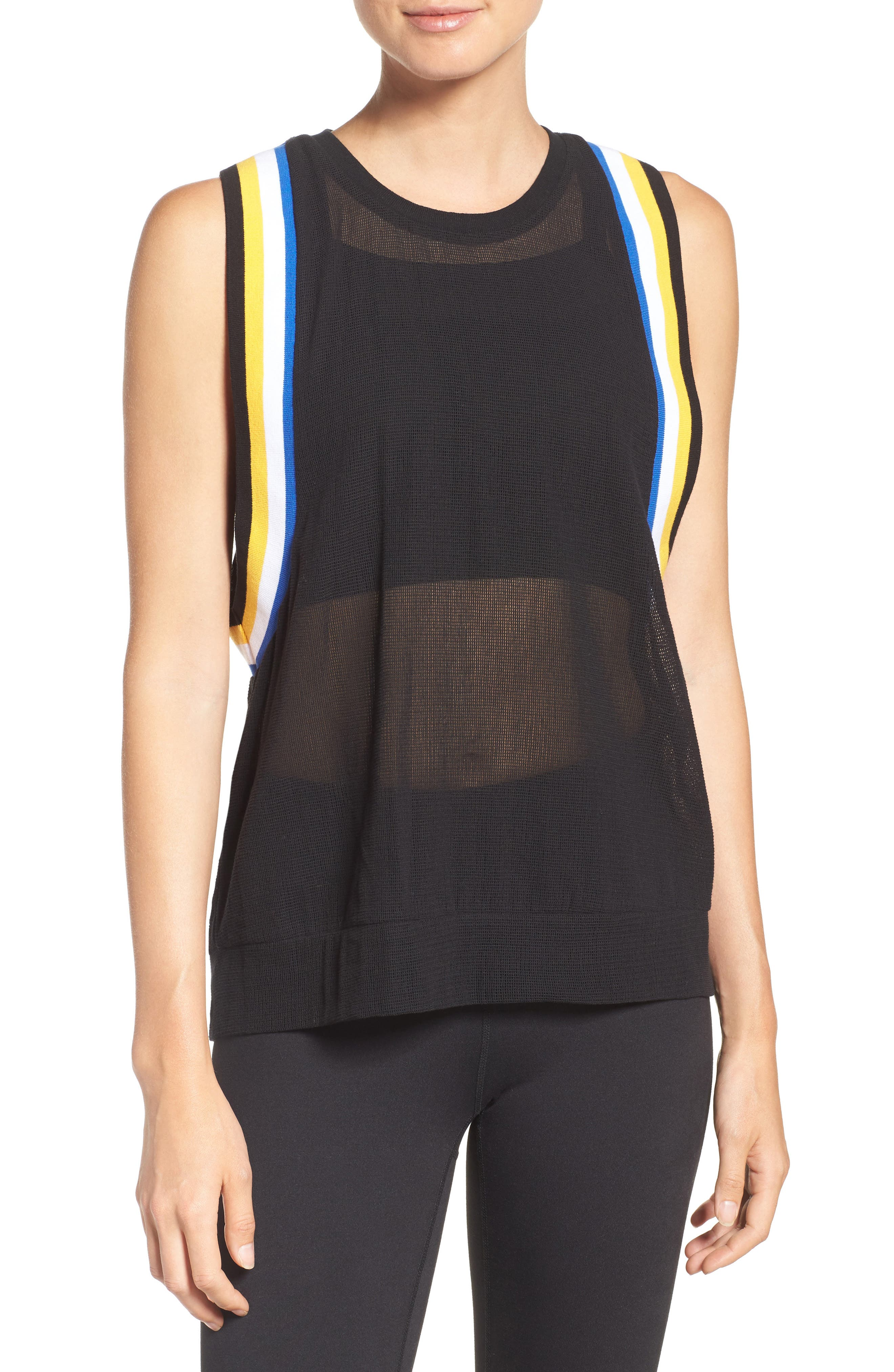 P.E. Nation Fast Ball Mesh Tank,                             Main thumbnail 1, color,                             Black/ Multi