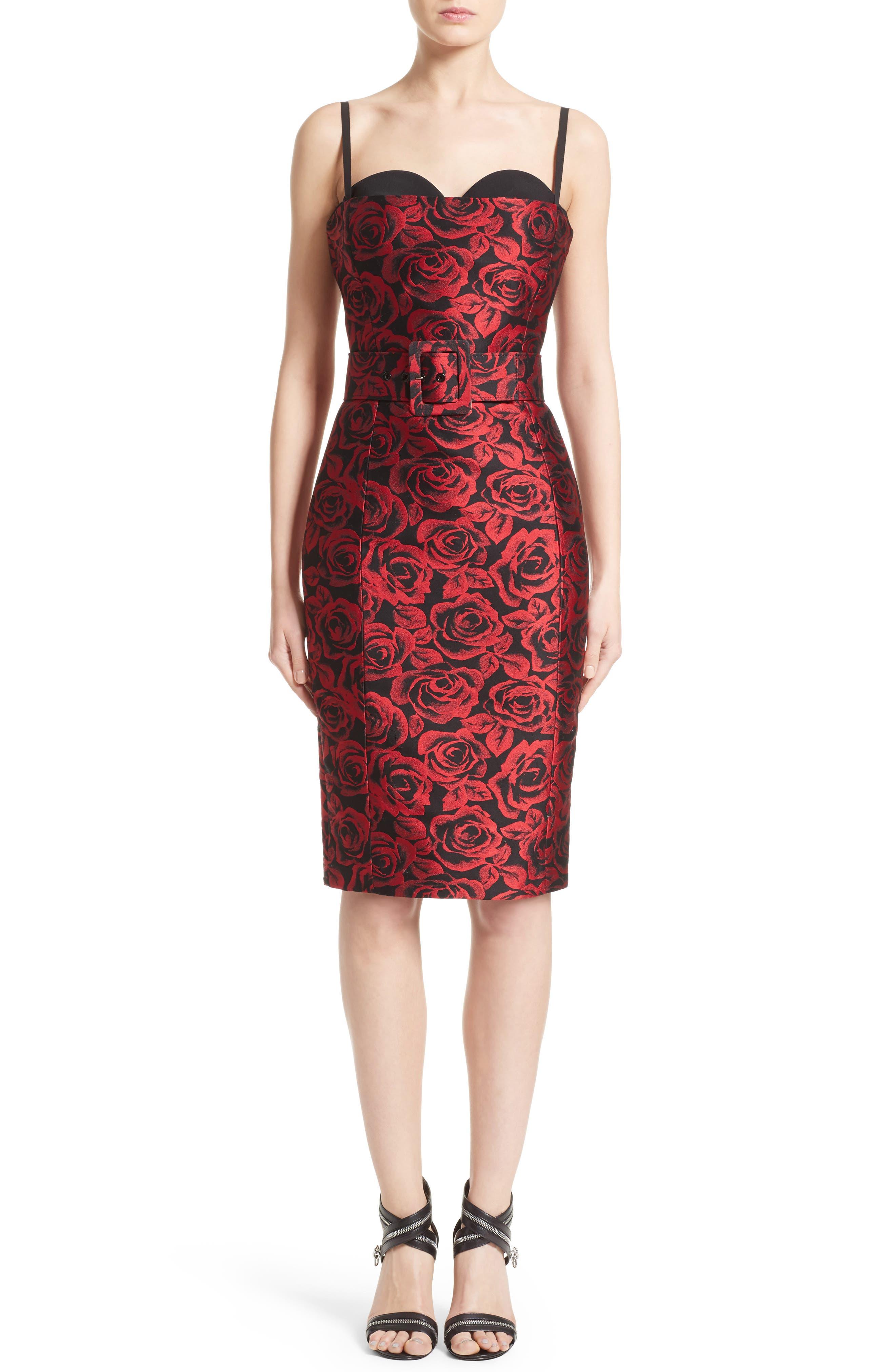 Rose Jacquard Bustier Sheath Dress,                         Main,                         color, Crimson/ Black