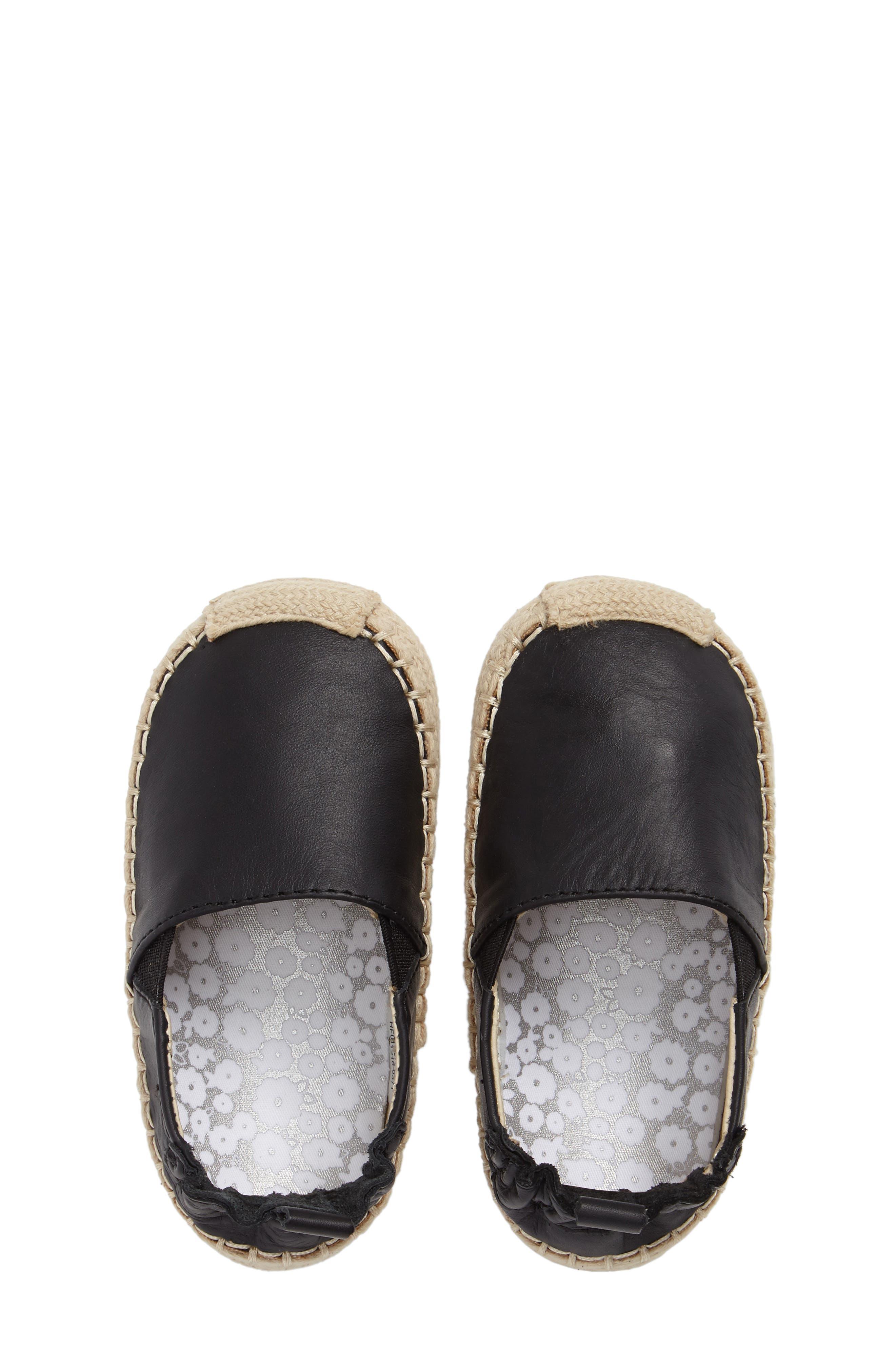Ellie Crib Shoe,                             Alternate thumbnail 5, color,                             Black Leather