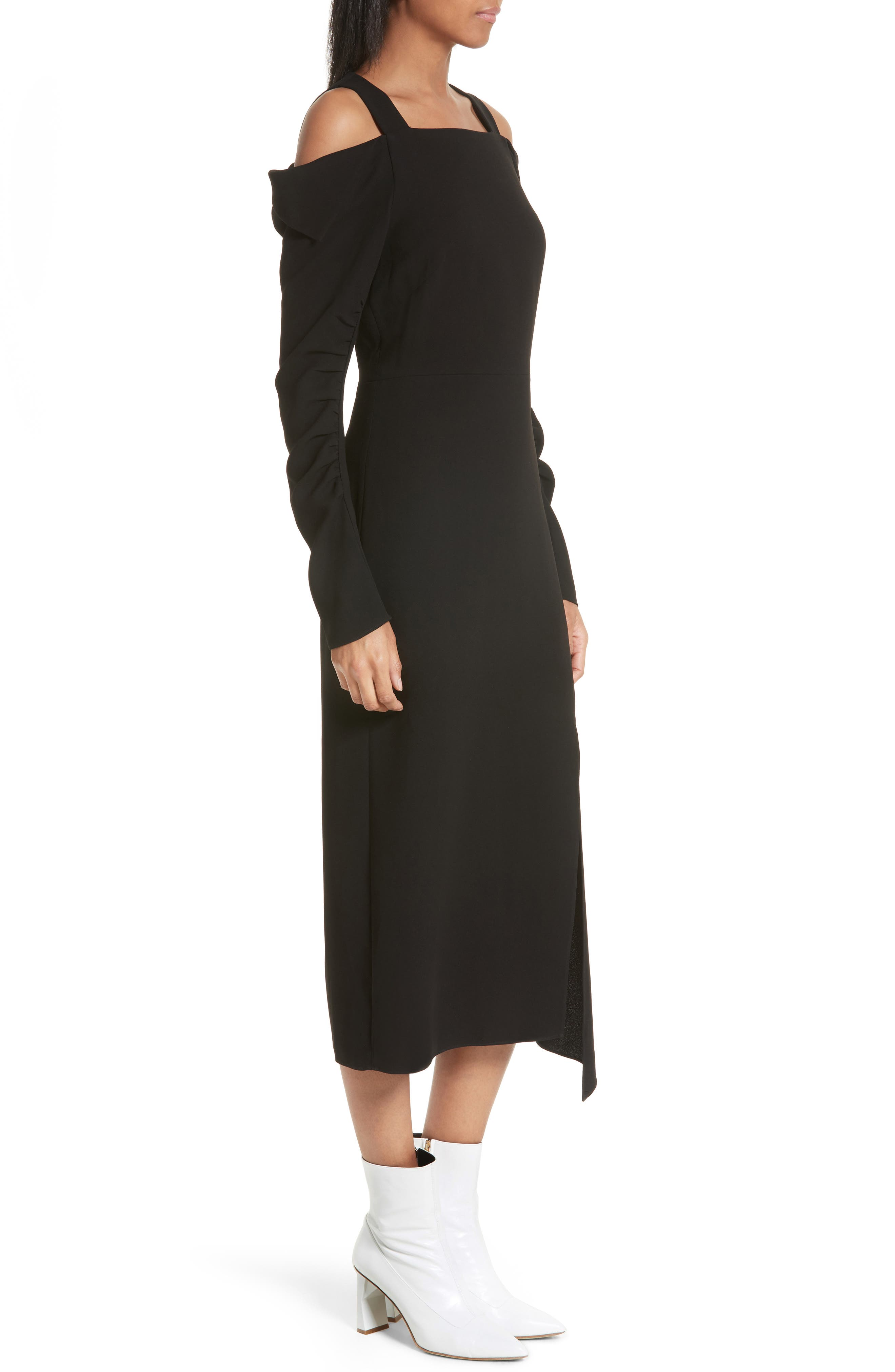 Cold Shoulder Midi Dress,                             Alternate thumbnail 3, color,                             Black