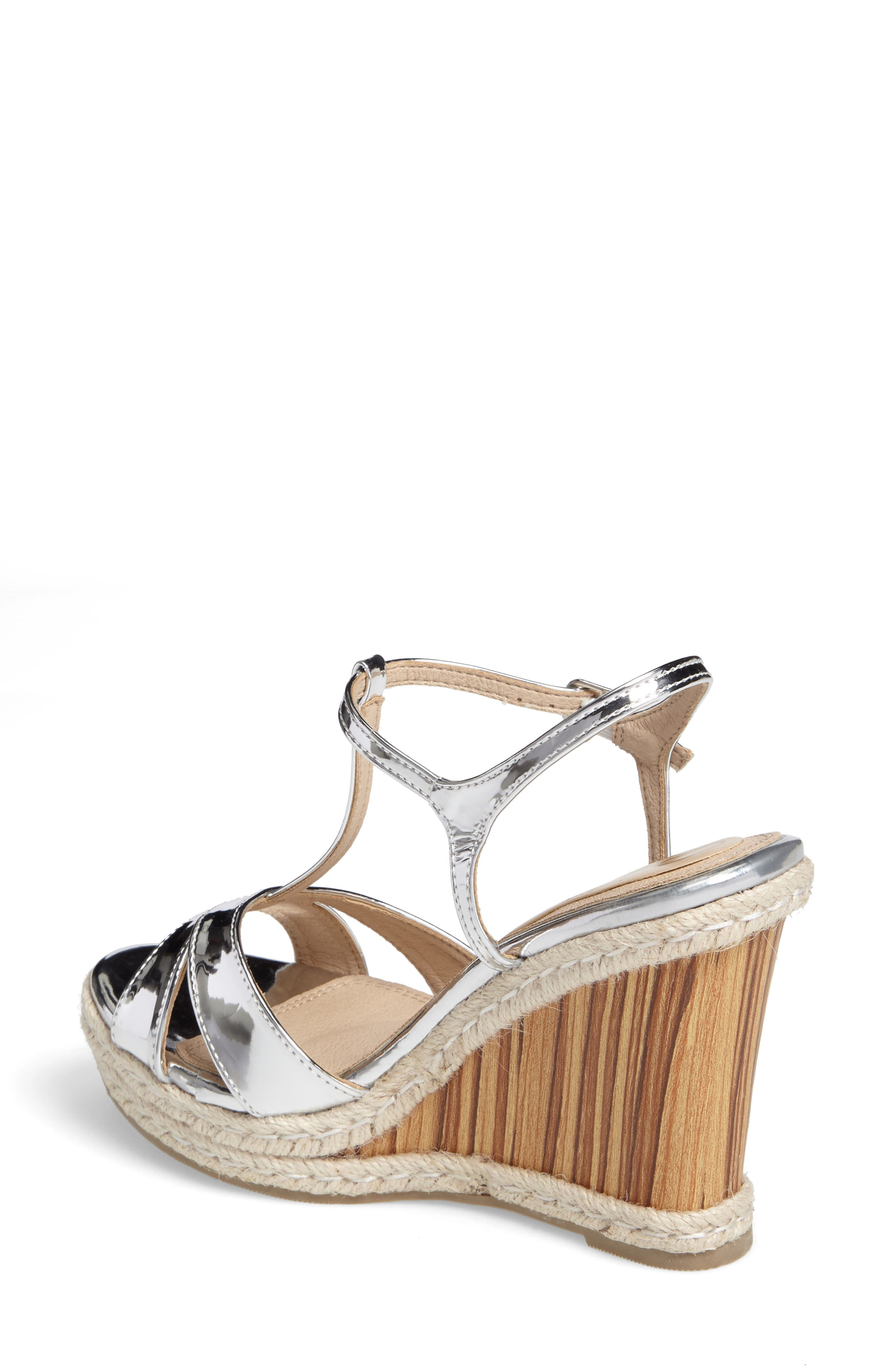 Alinna T-Strap Wedge Sandal,                             Alternate thumbnail 2, color,                             Silver Faux Leather