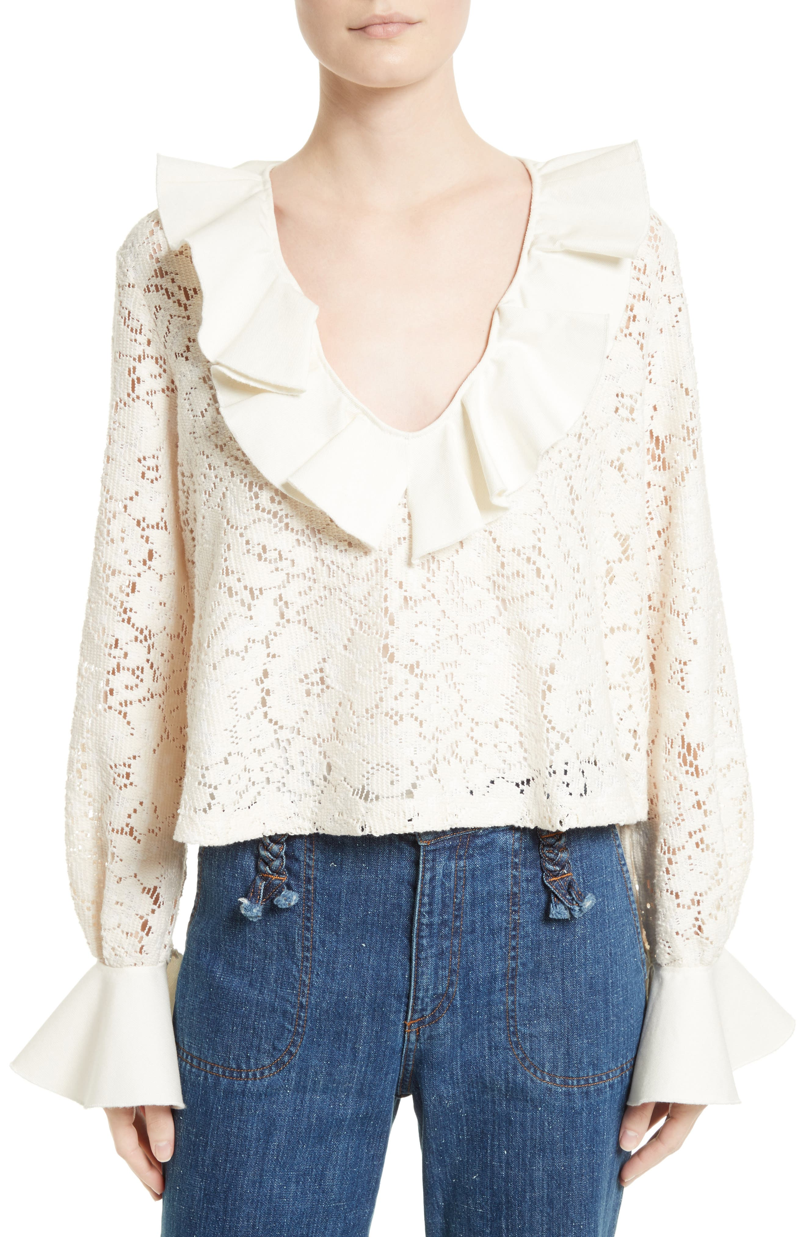 Ruffle Lace Blouse,                         Main,                         color, Natural White