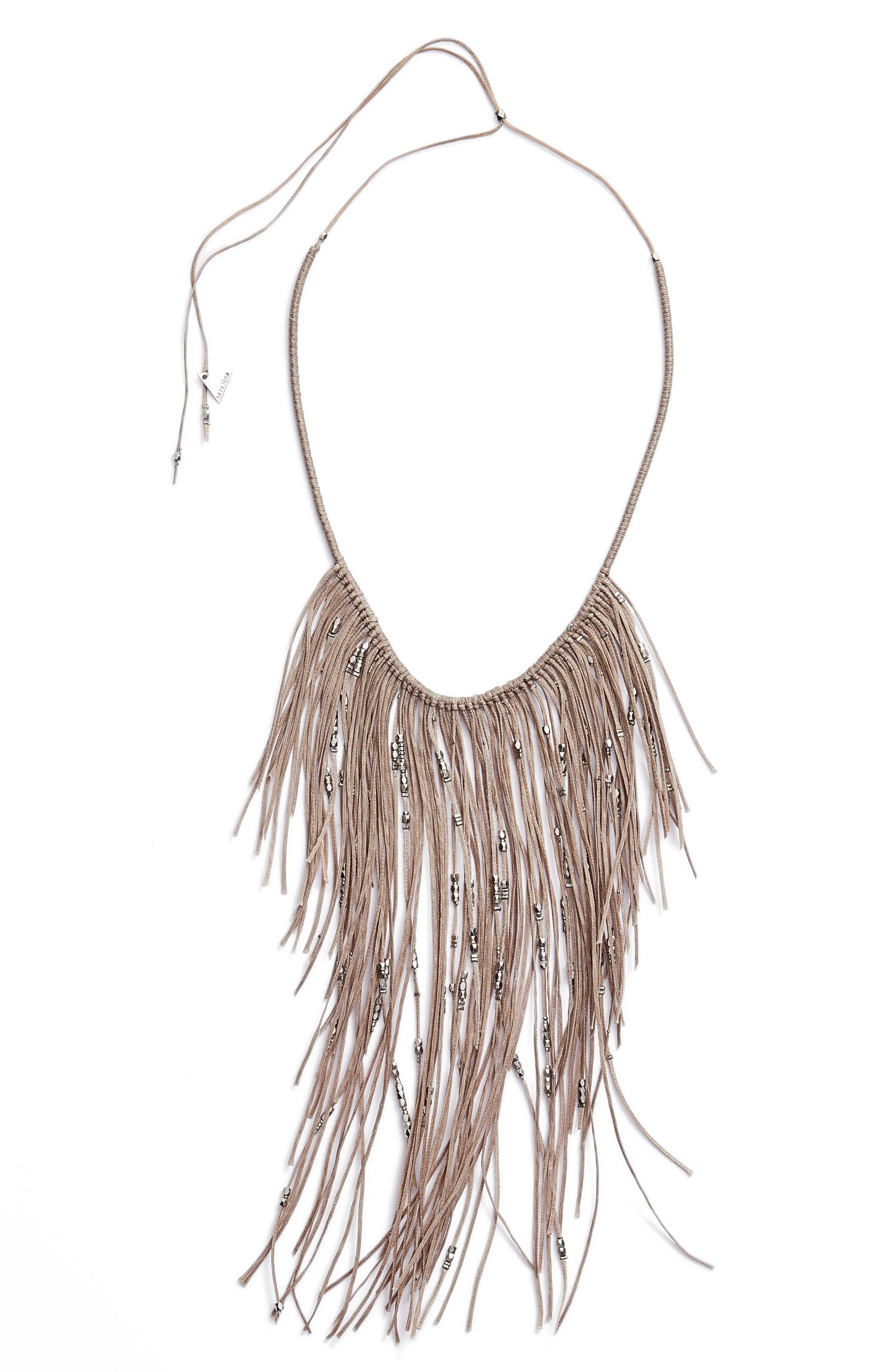 Glistening Fringe Necklace,                         Main,                         color, Grey