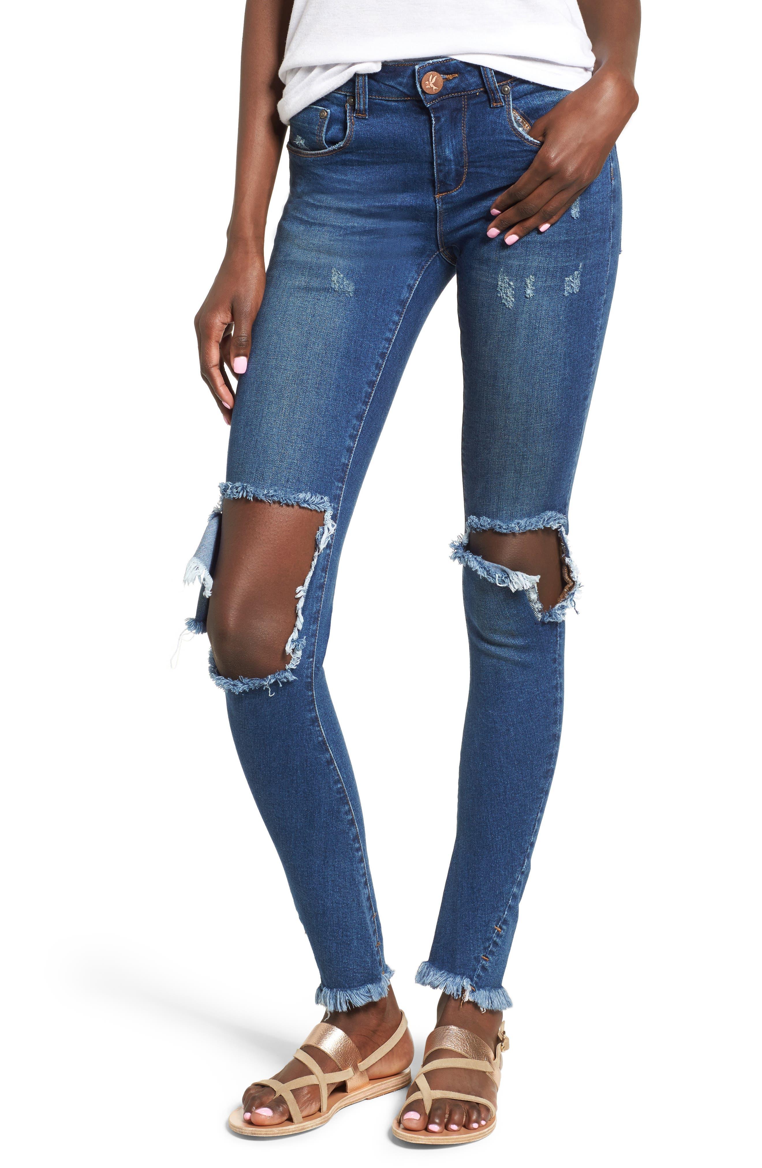 One Teaspoon Ripped Skinny Jeans (Bonnie Blue)
