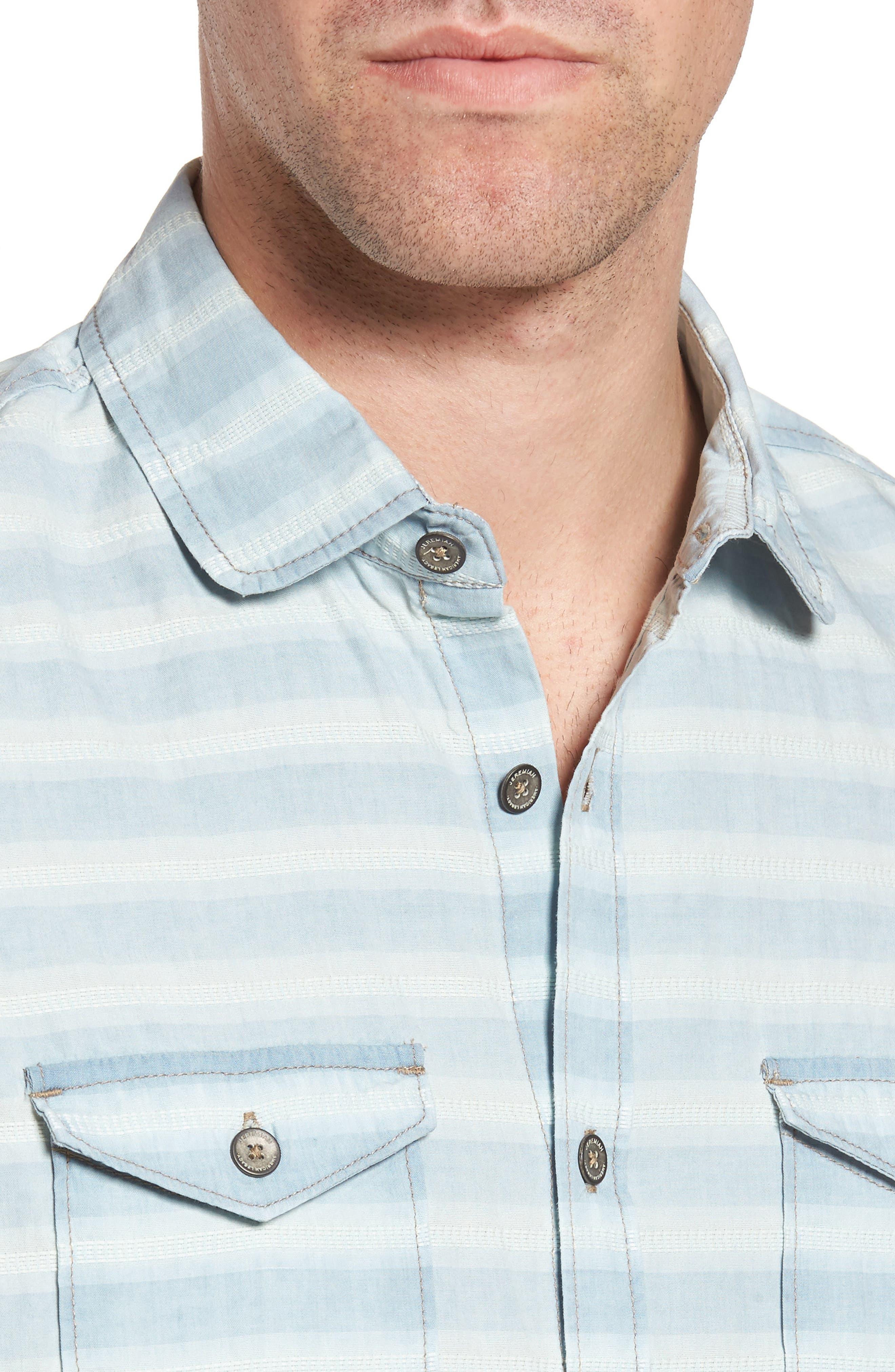 Abbott Regular Fit Dobby Stripe Sport Shirt,                             Alternate thumbnail 4, color,                             Cloud