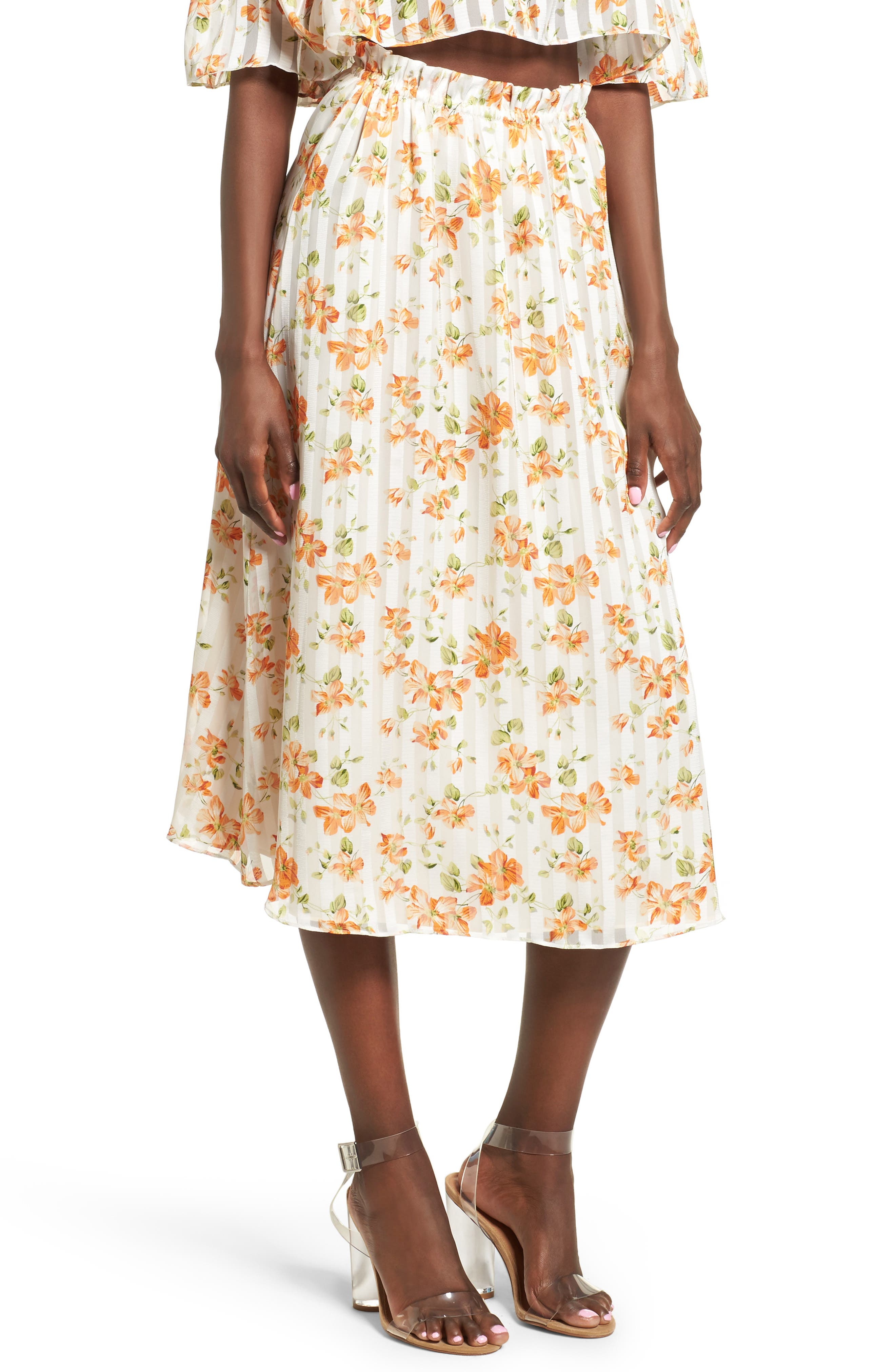 Privacy Please Whitney Floral Midi Skirt