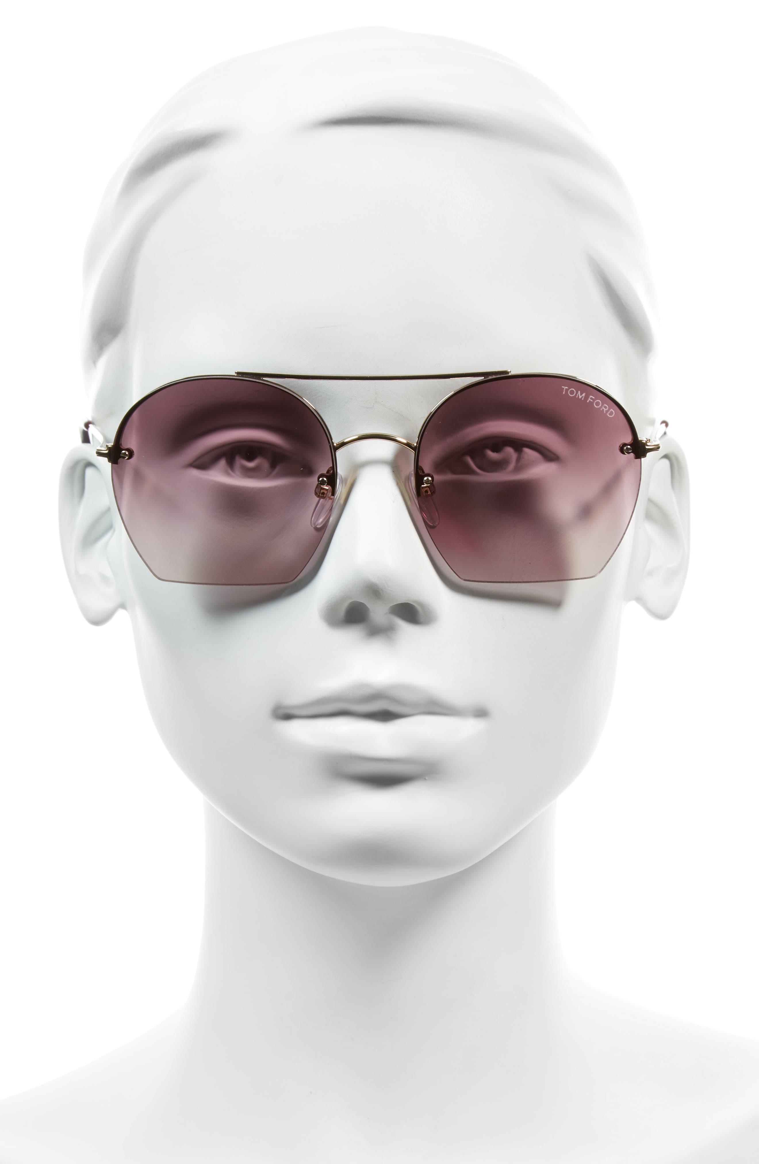 Antonia 55mm Gradient Lens Aviator Sunglasses,                             Alternate thumbnail 2, color,                             Rose Gold/ Plum/ Gradient Pink