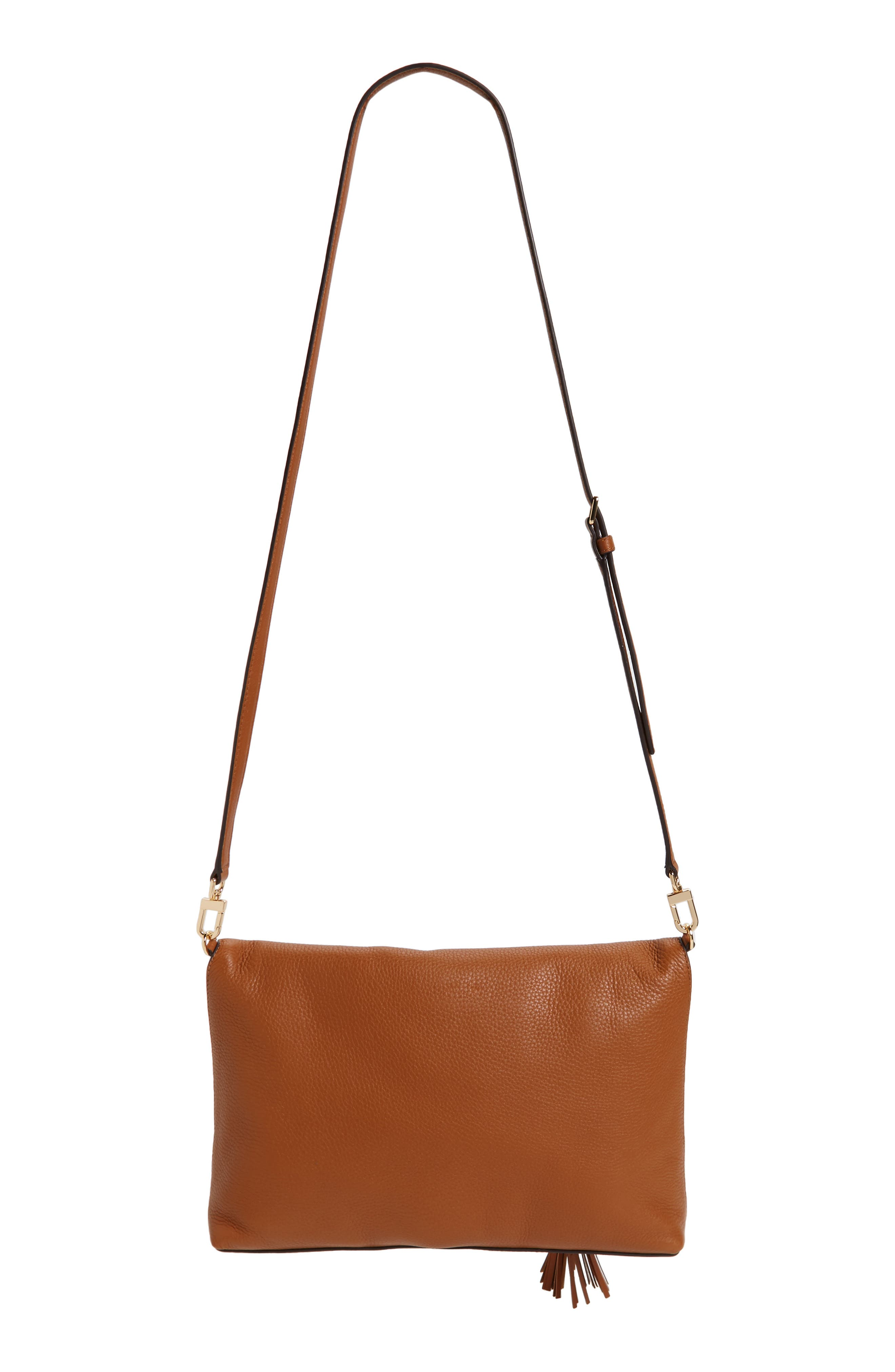 Convertible Leather Crossbody Bag,                             Alternate thumbnail 3, color,                             Saddle