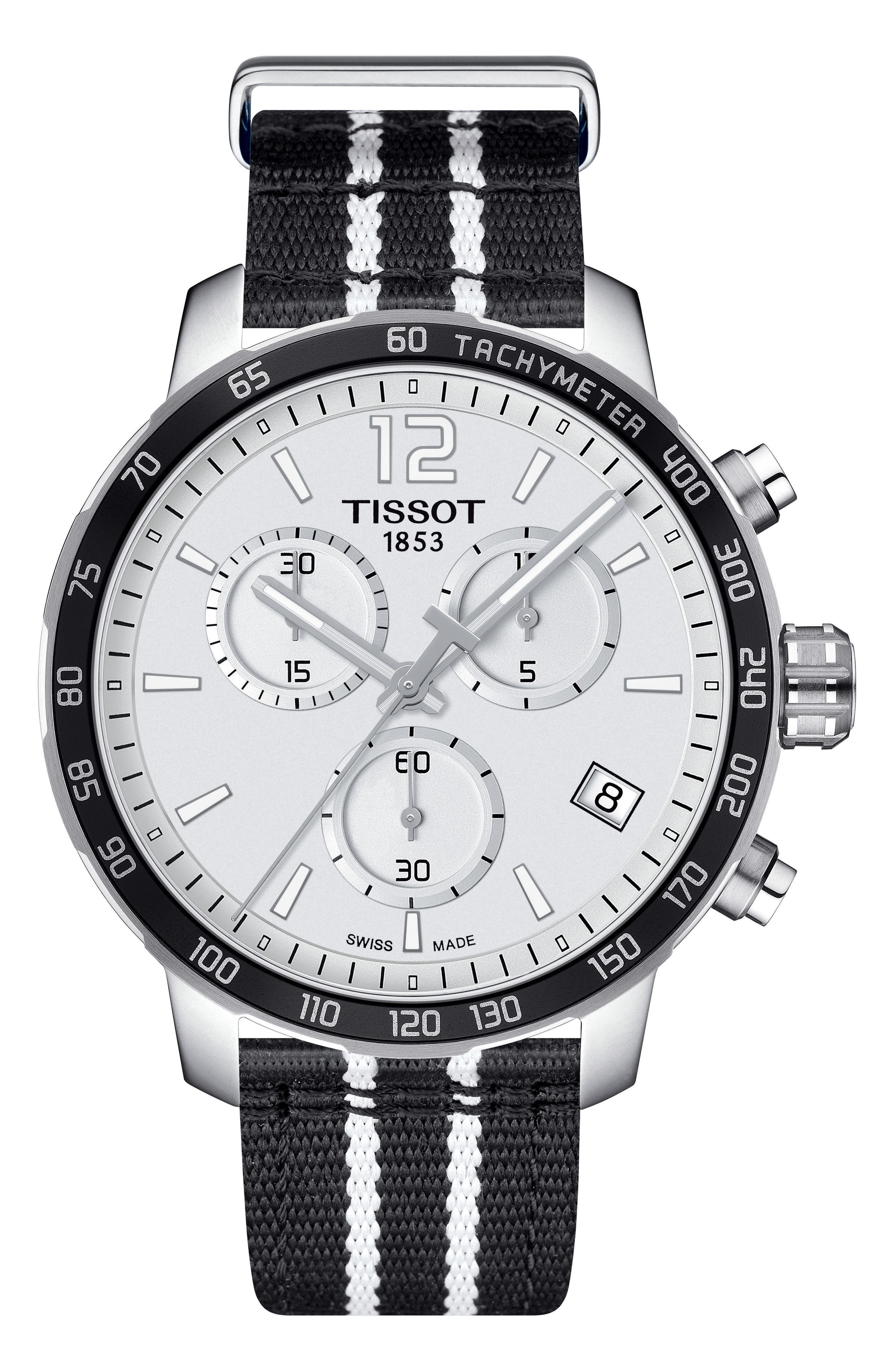 Quikster NBA Chronograph NATO Strap Watch, 42mm,                         Main,                         color, Black/ White/ Silver