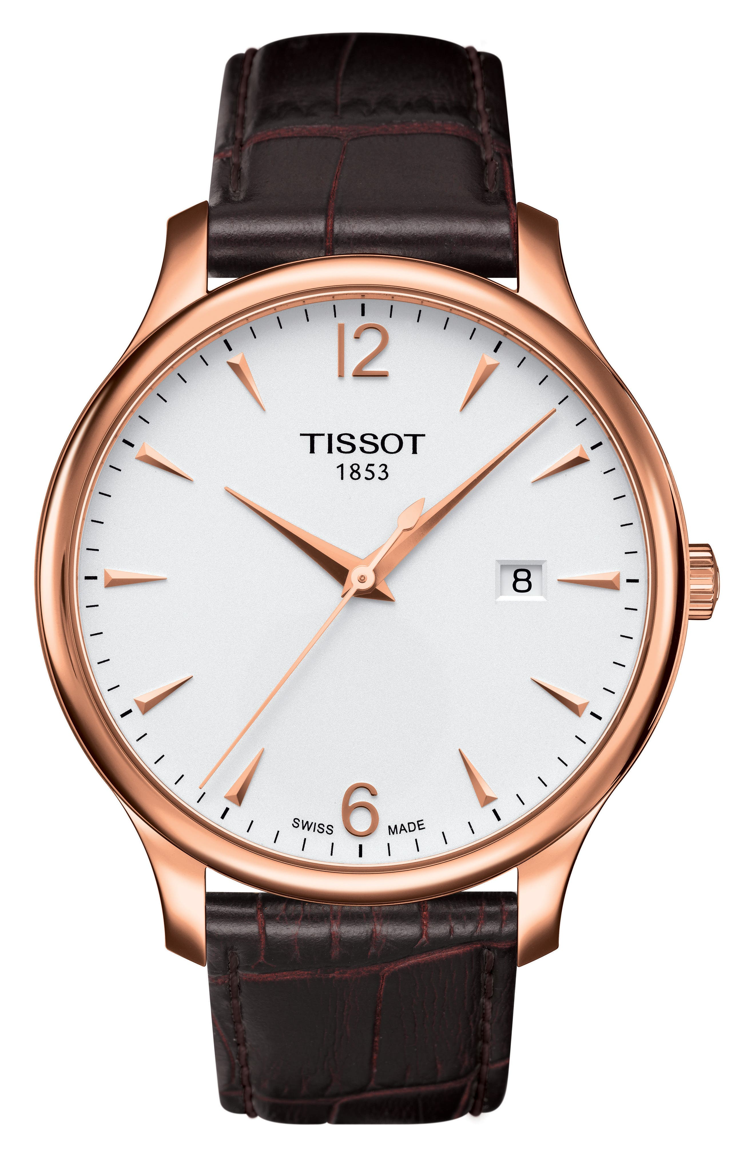 Tradition Leather Strap Watch, 42mm,                         Main,                         color, Brown/ Rose Gold