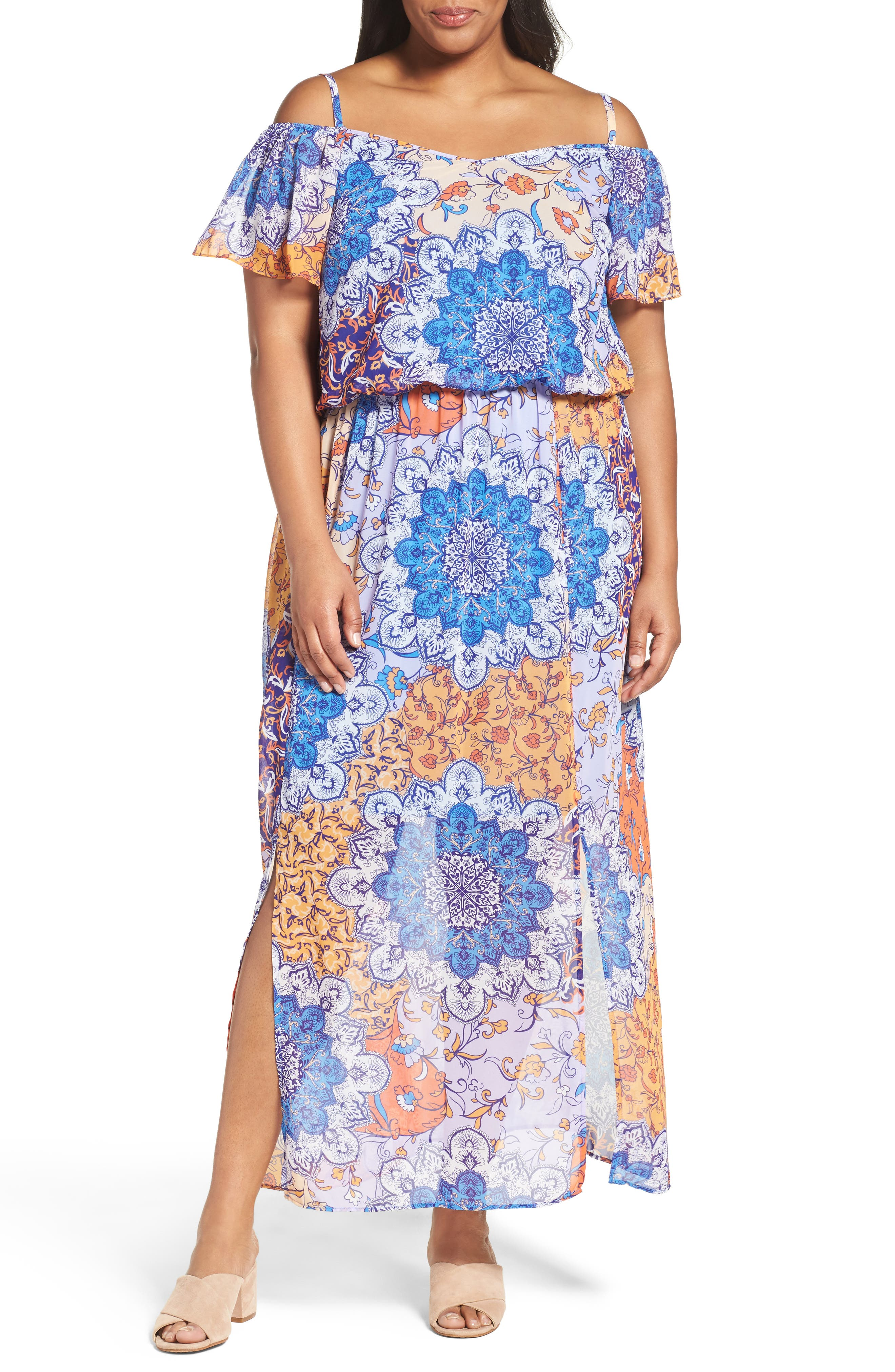 Main Image - London Times Print Cold Shoulder Maxi Dress (Plus Size)