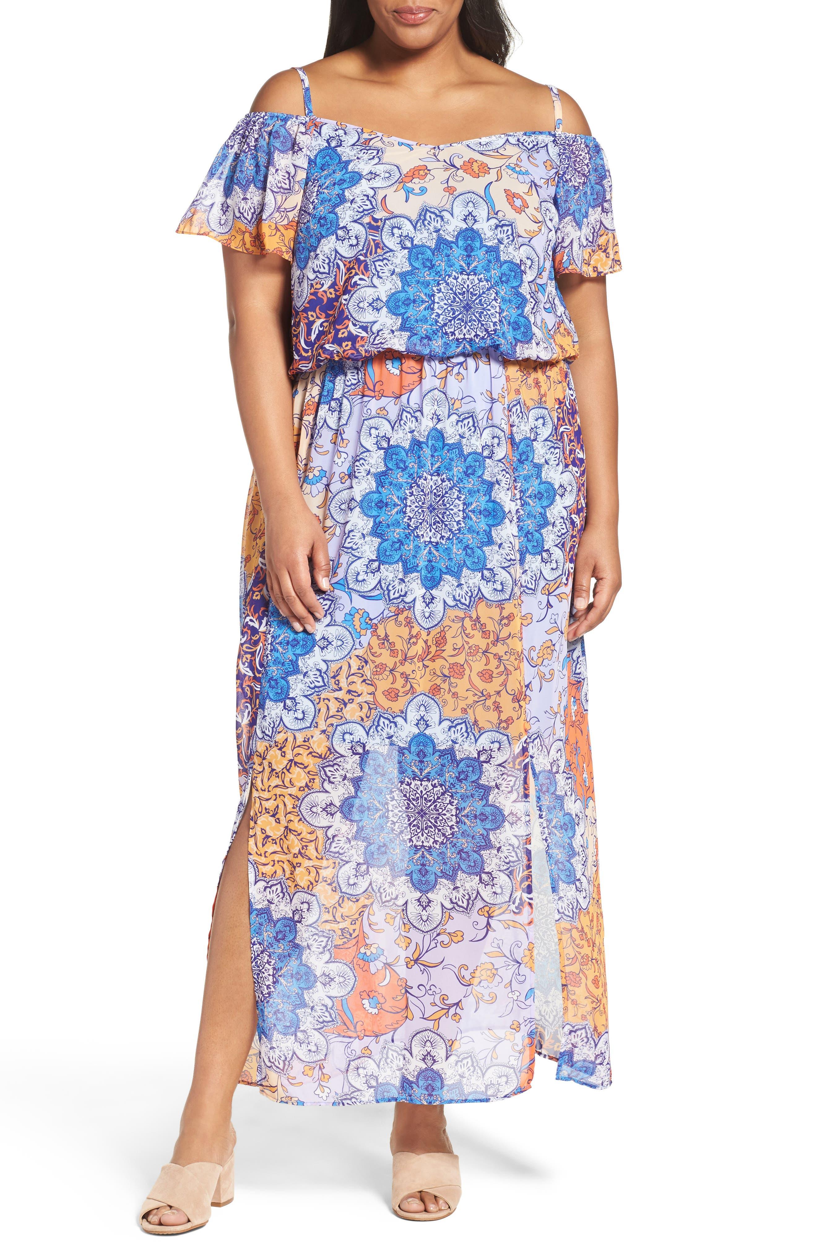 Print Cold Shoulder Maxi Dress,                         Main,                         color, Blue Orange