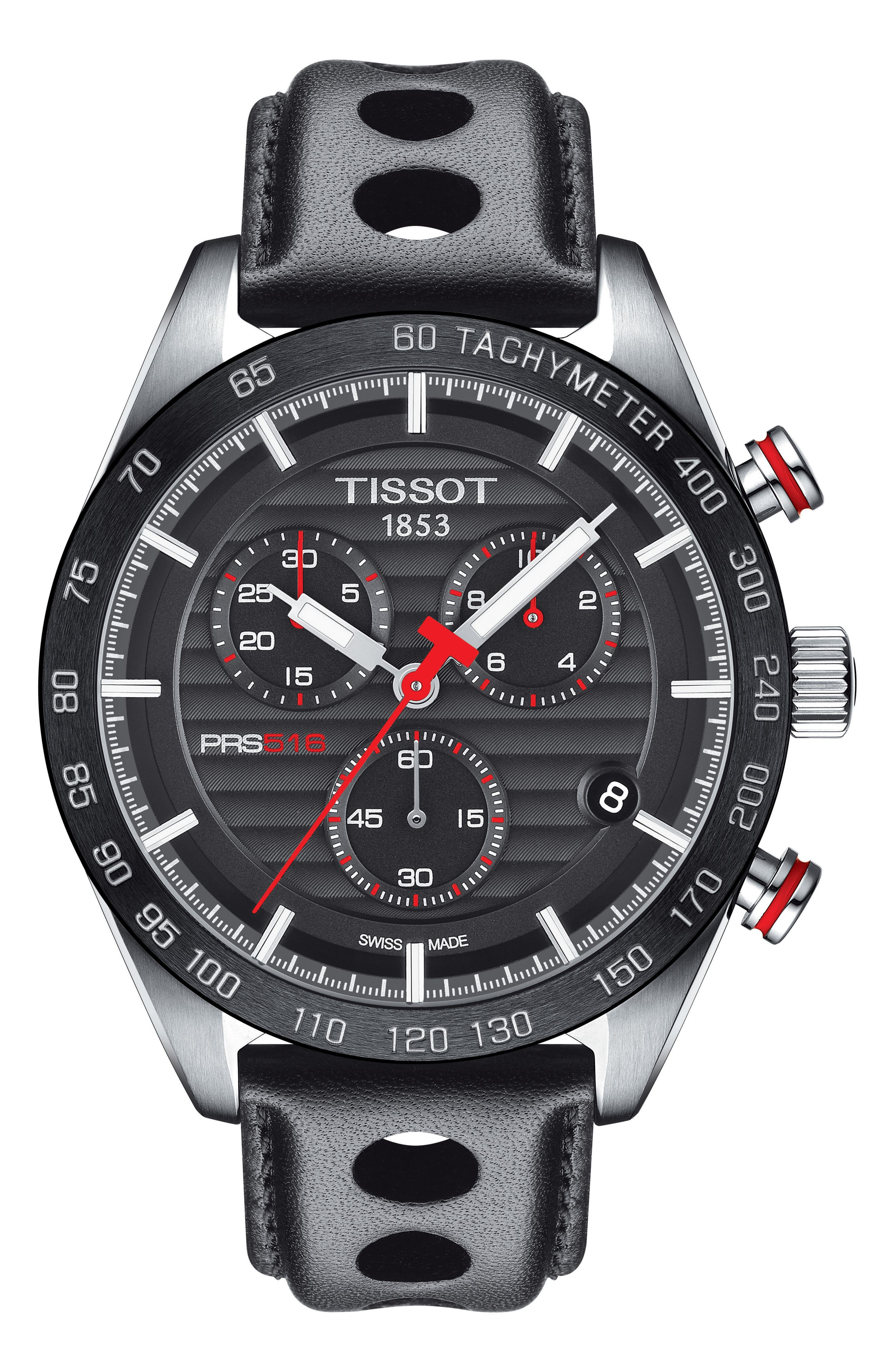 PRS 516 Chronograph Leather Strap Watch, 42mm,                         Main,                         color, Black/ Silver